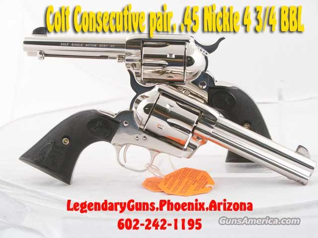 Colt SAA 4 3/4 .45LC, Nickle Finish Consecutive number set,   Guns > Pistols > Colt Single Action Revolvers - 3rd Gen.