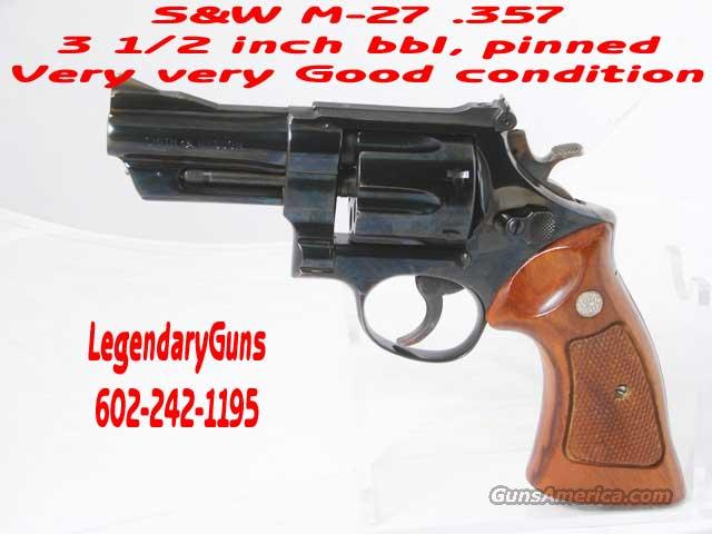 S&W Model 27 .357  3 1/2inch pinned bbl  Guns > Pistols > Smith & Wesson Revolvers > Full Frame Revolver