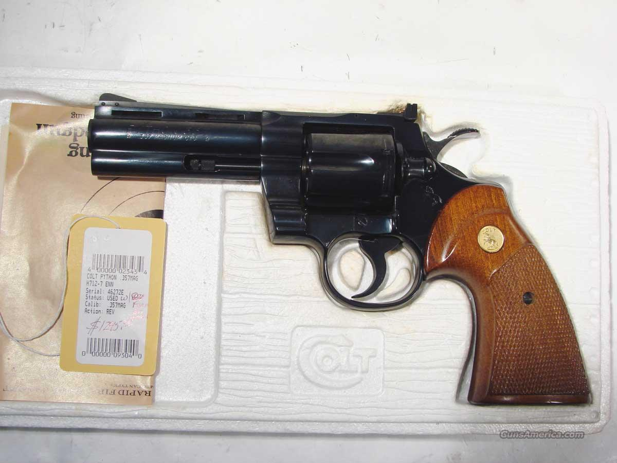Colt Python 4inch Blue Unfired with Foam box Insert  Guns > Pistols > Colt Double Action Revolvers- Modern