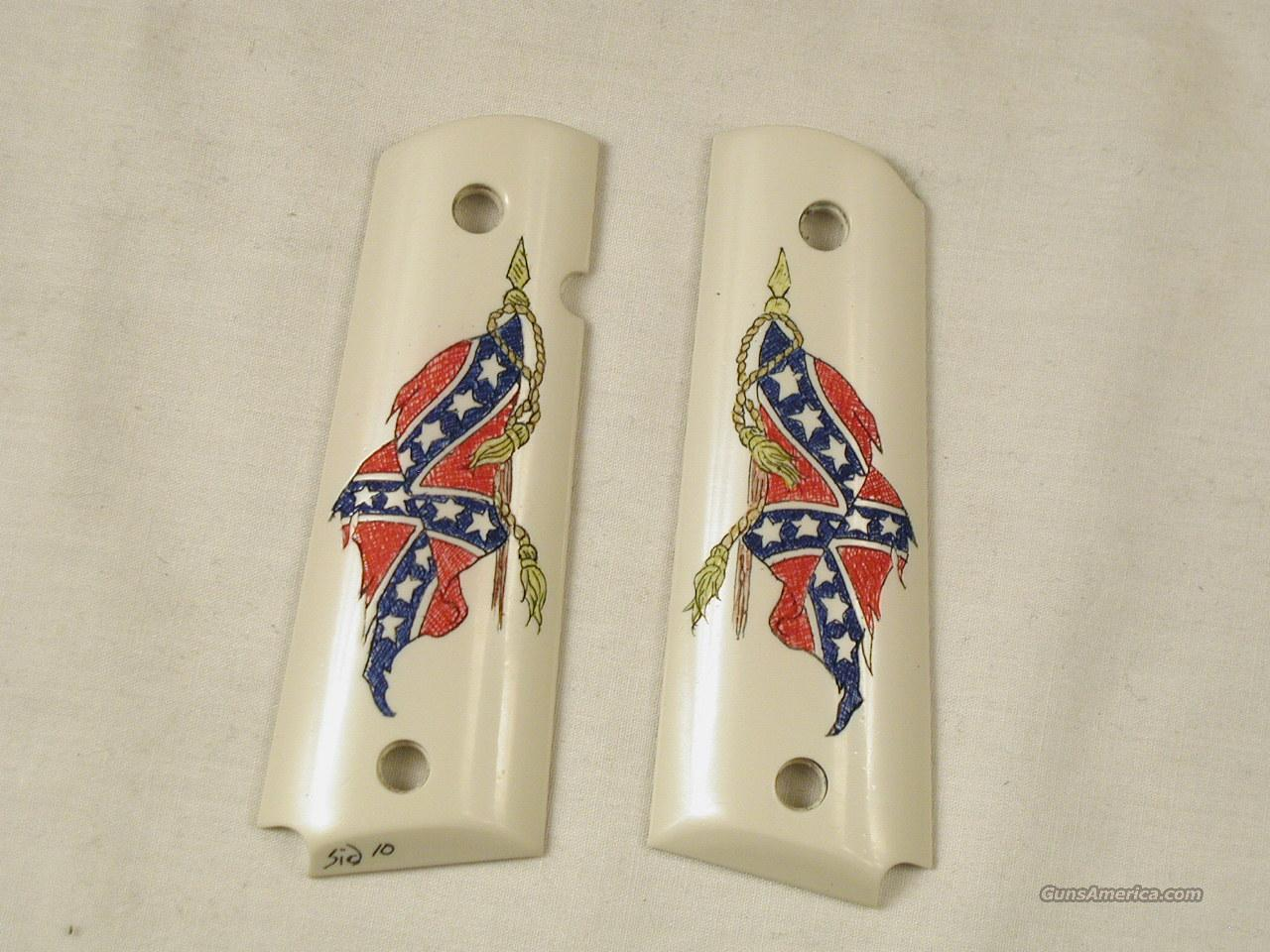 1911 GOVERNMENT SIZE CONFEDERATE FLAG CUSTOM GRIPS  Non-Guns > Gunstocks, Grips & Wood