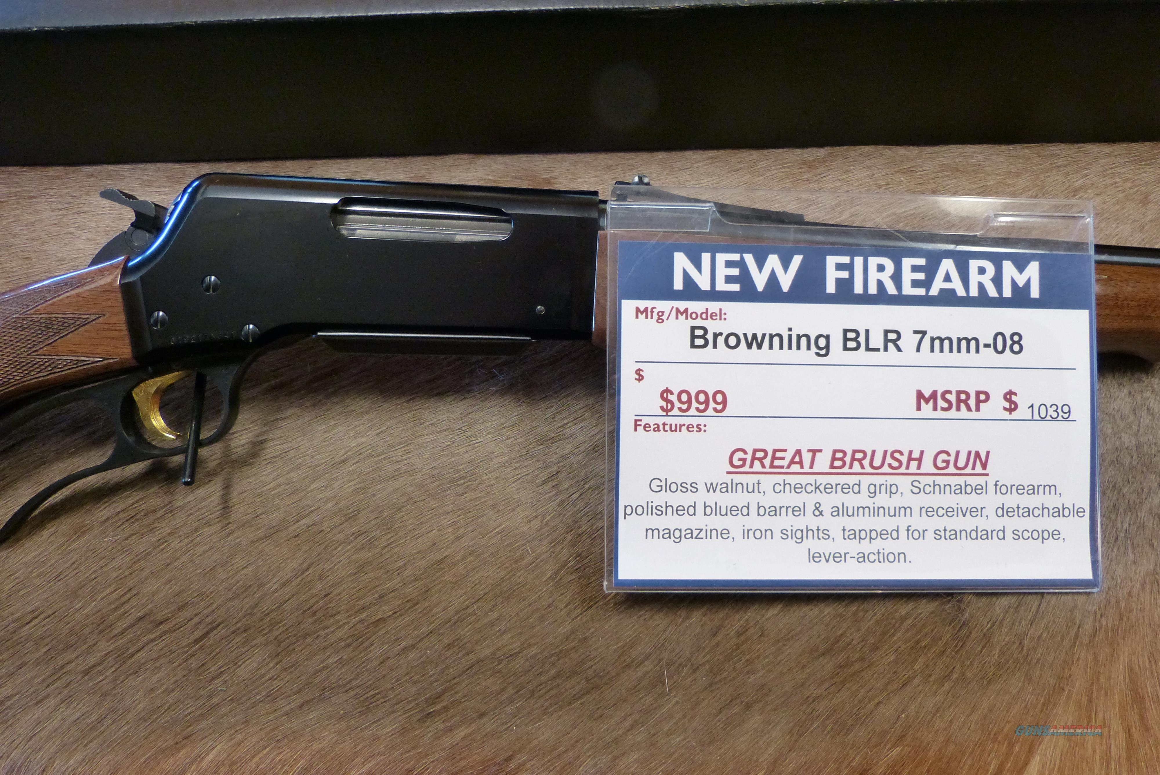 Browning BLR 7mm-08 NEW  Guns > Rifles > Browning Rifles > Lever Action