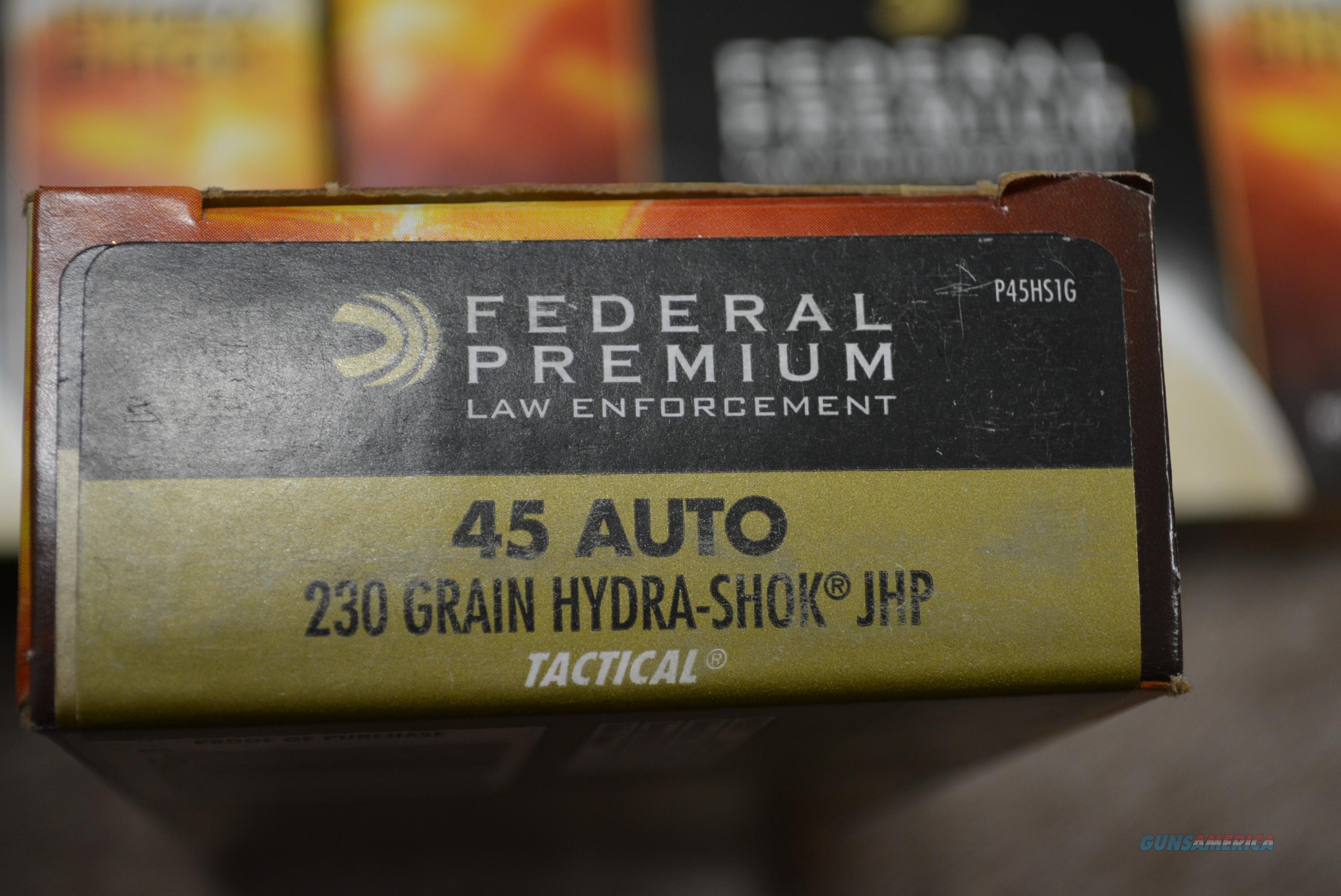 Federal 45 Auto 230 Gr. Hydra Shok - P45HS1G - 250 Rds   Non-Guns > Ammunition