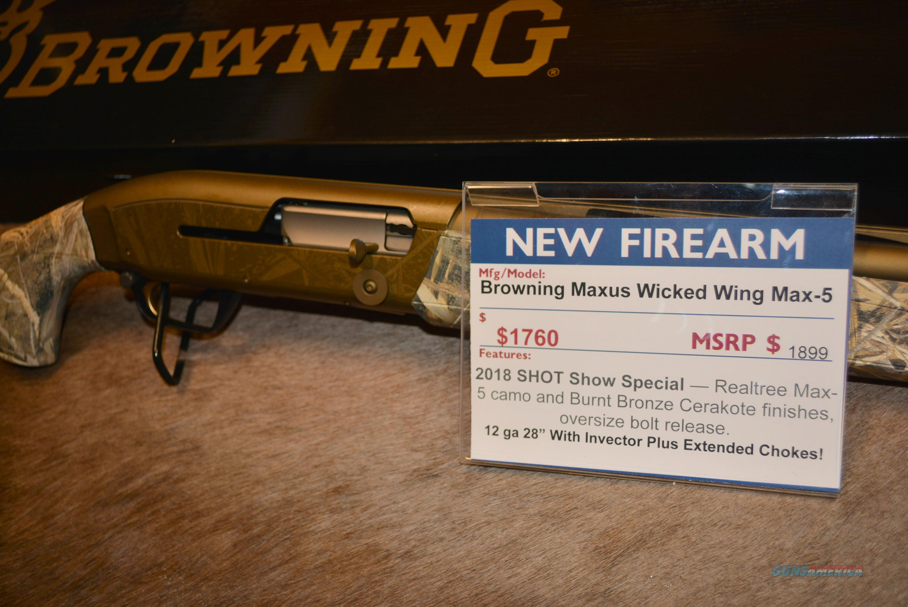 Browning Maxus Wicked Wing Realtree Max-5  Guns > Shotguns > Browning Shotguns > Autoloaders > Hunting