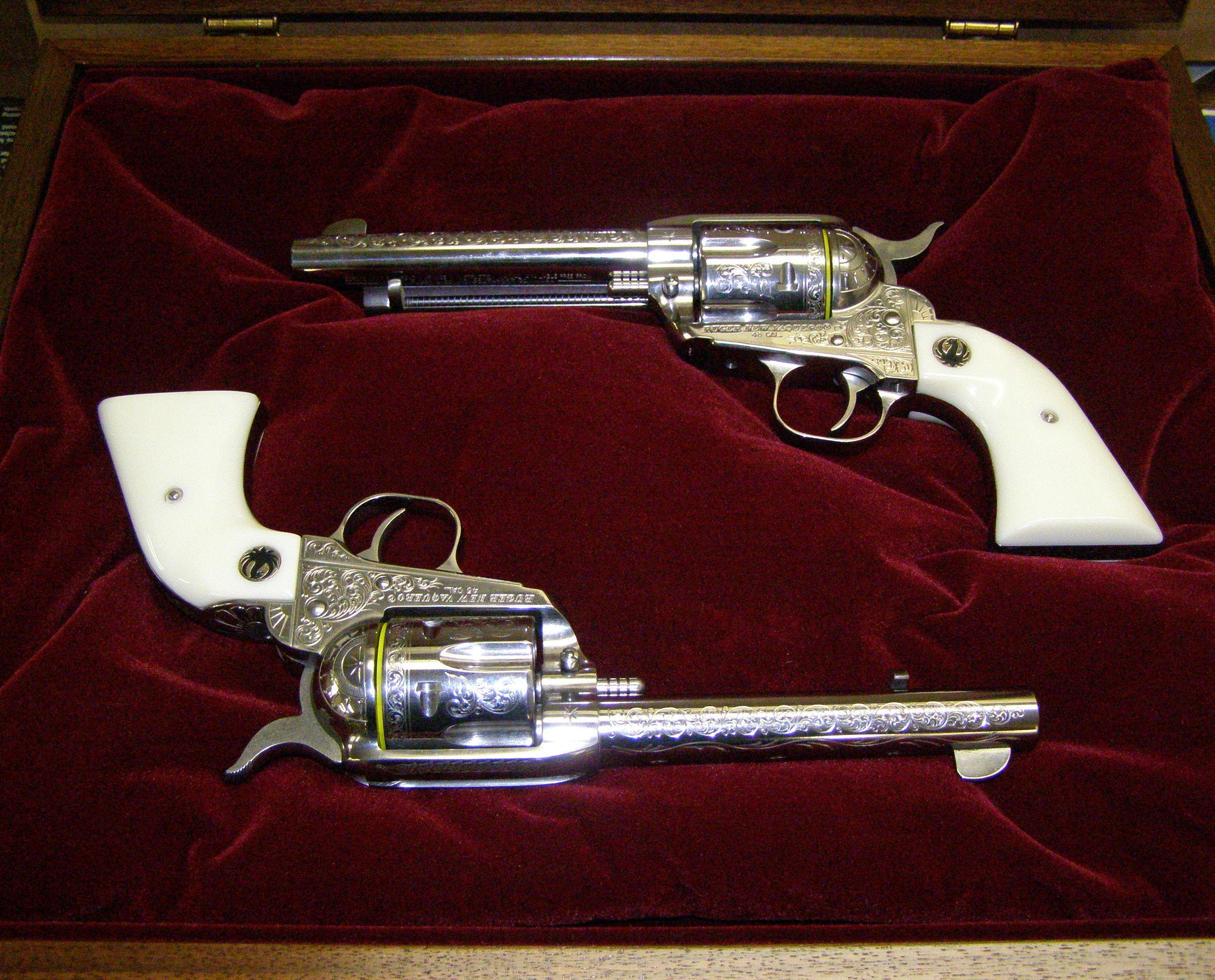 Matched Pair of Engraved Vaqueros  Guns > Pistols > Ruger Single Action Revolvers > Cowboy Action