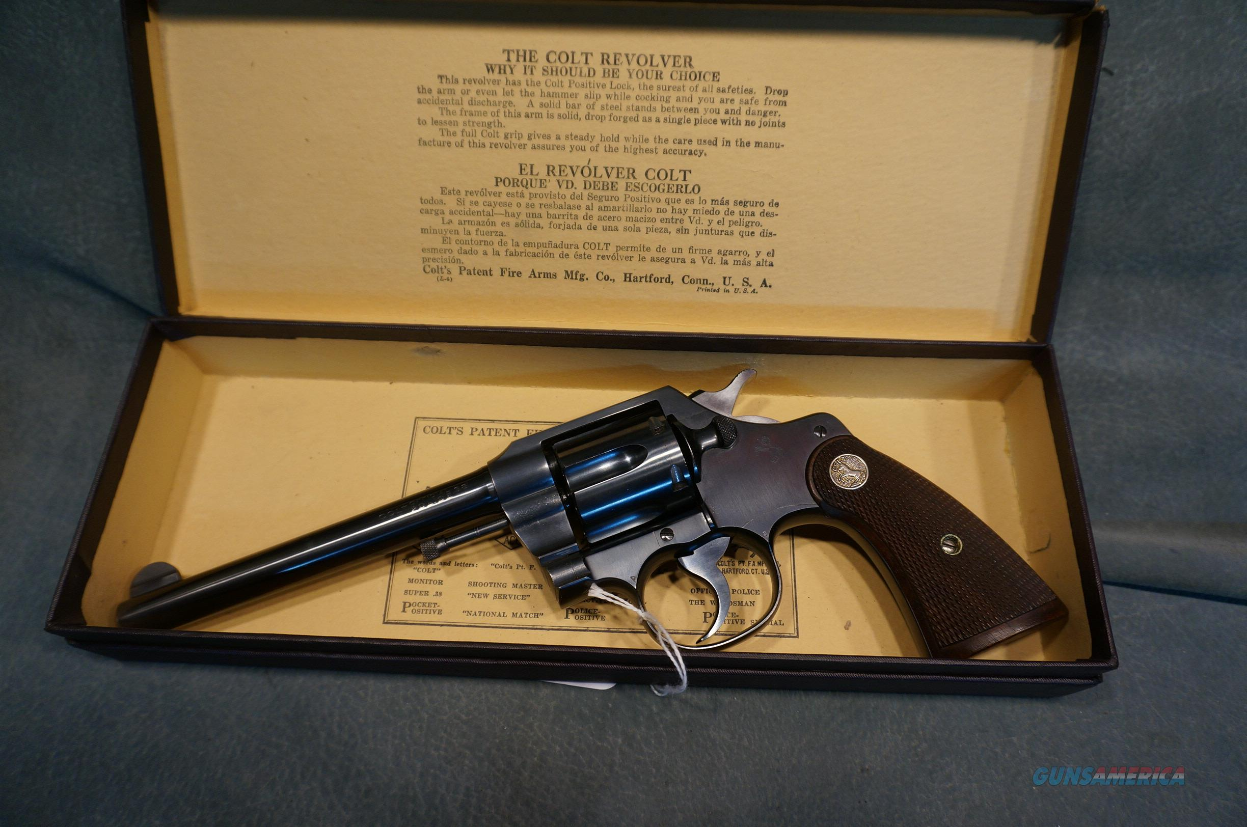 """Colt Pre War Official Police 38Sp 6"""" ANIB made in 1929  Guns > Pistols > Colt Double Action Revolvers- Pre-1945"""