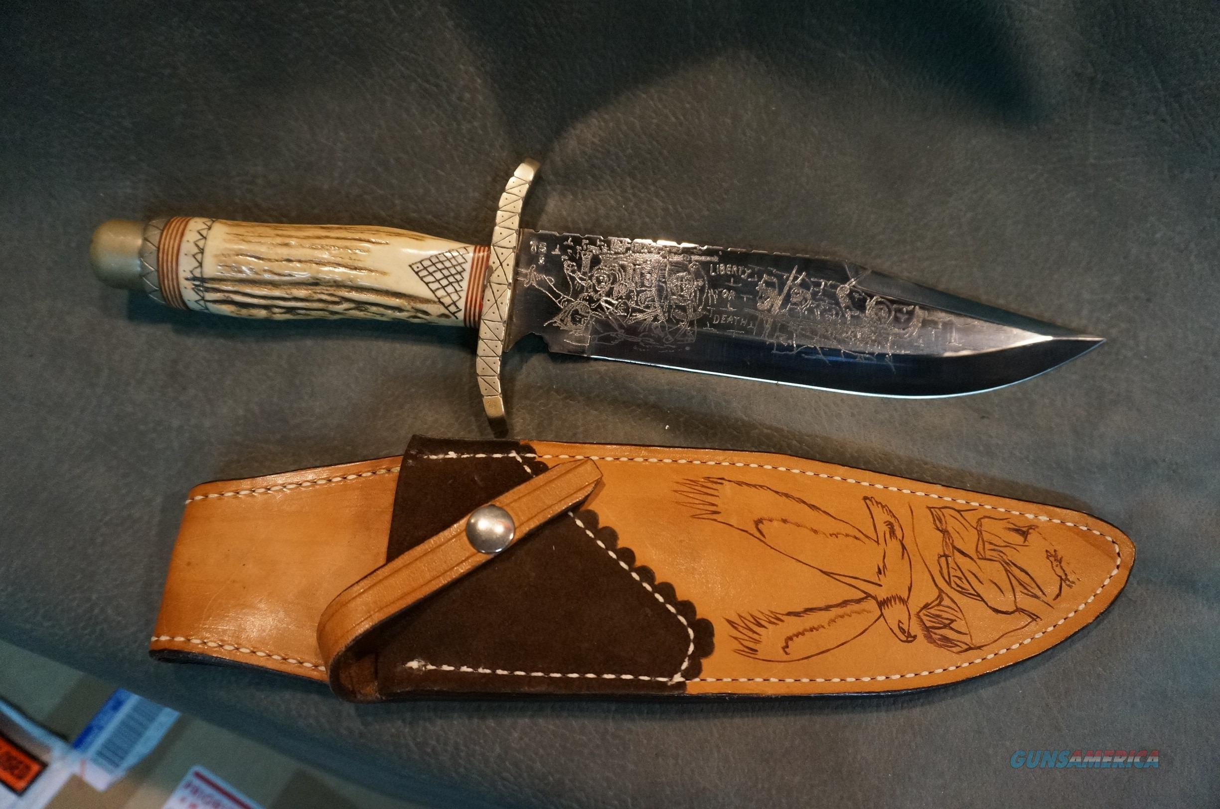 Tommy Sumner Custom Engraved Bowie Knife  Non-Guns > Knives/Swords > Knives > Fixed Blade > Hand Made