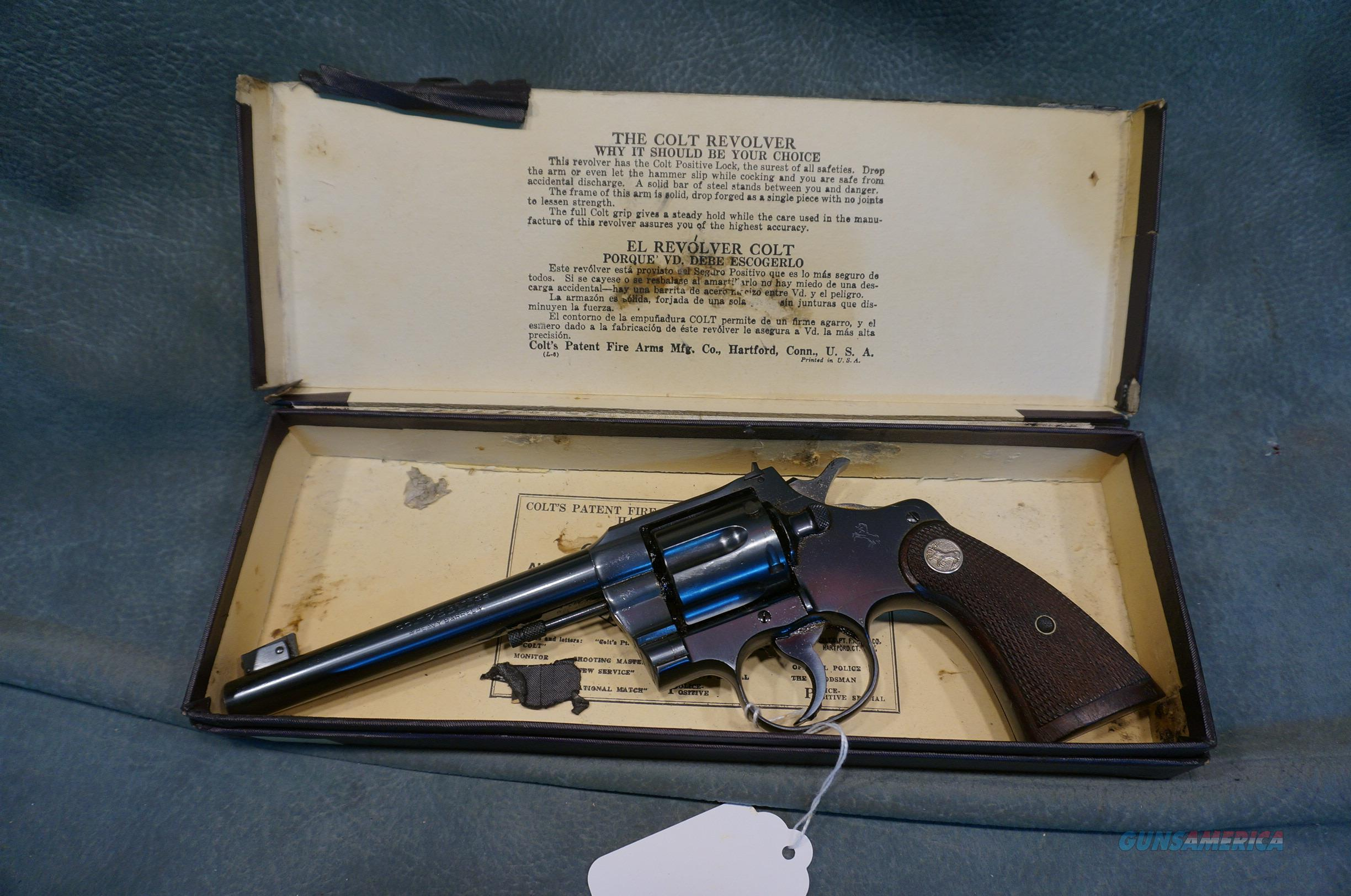 "Colt Officer's Model Heavy Barrel 32 Target 6"" MINTY  Guns > Pistols > Colt Double Action Revolvers- Pre-1945"