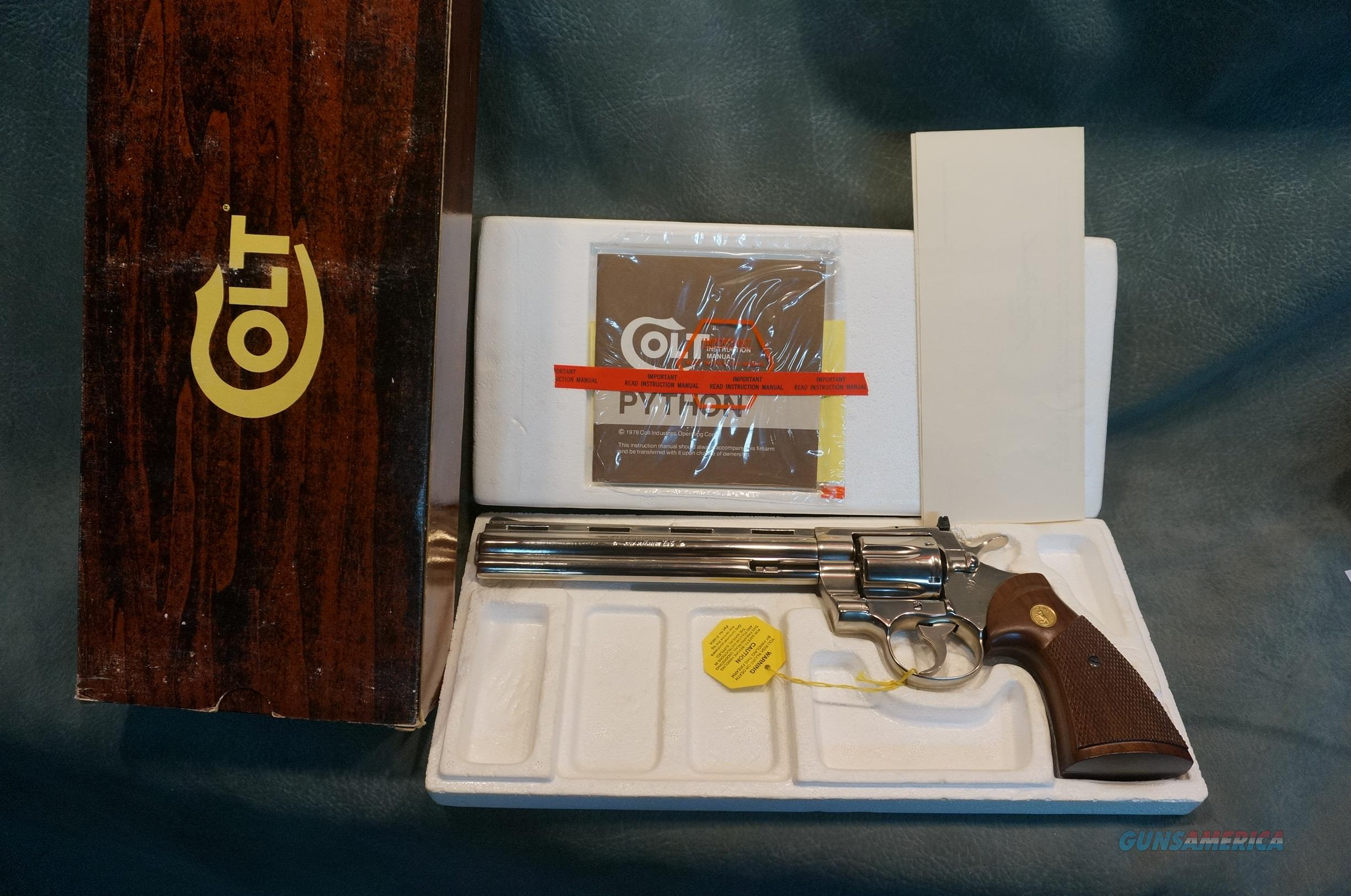 "Colt Python 357Mag 8"" Nickel New in the box.  Guns > Pistols > Colt Double Action Revolvers- Modern"
