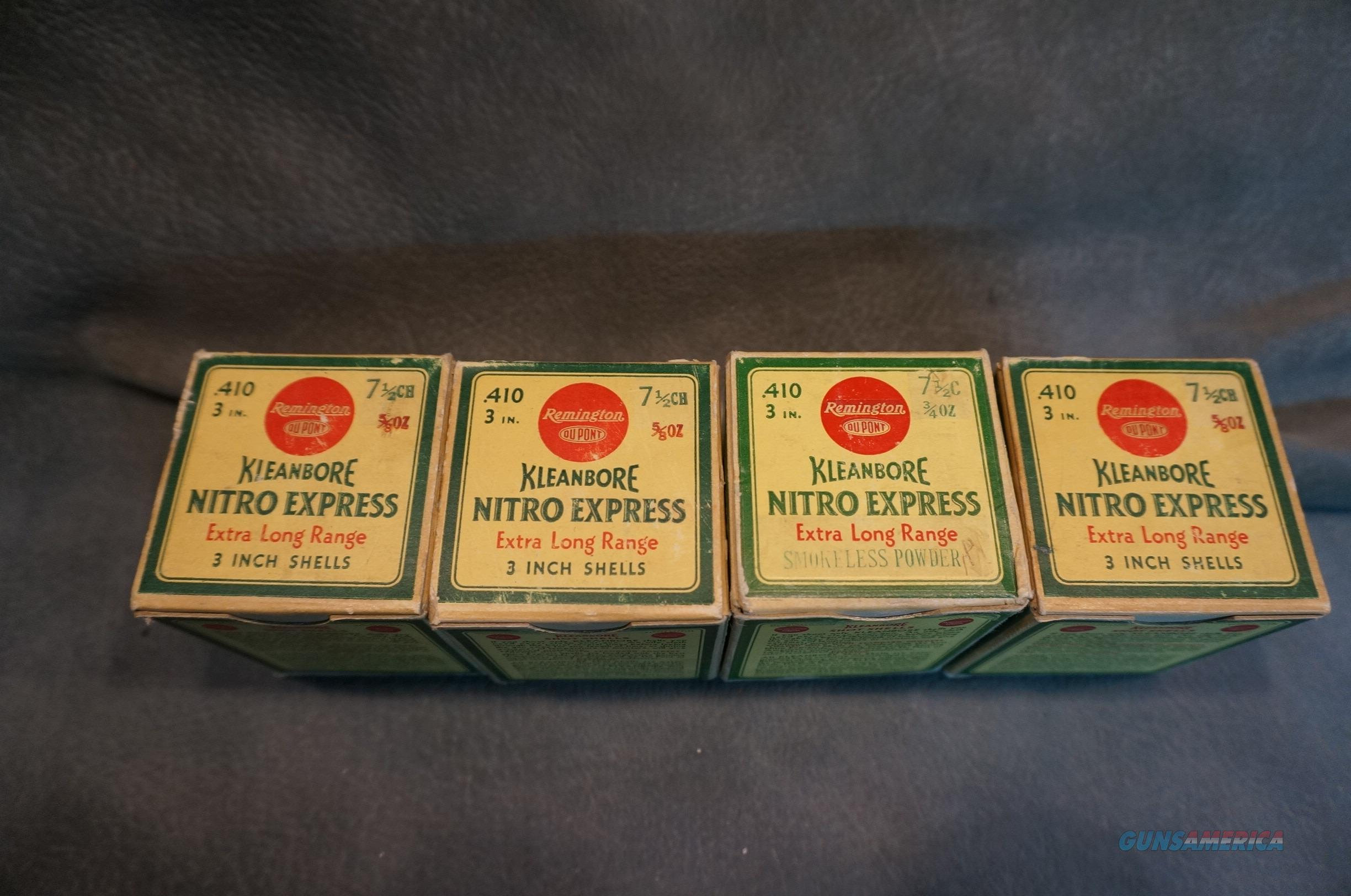 Vintage 410 Remington Kleanbore Extra Long Range 4 boxes  Non-Guns > Ammunition