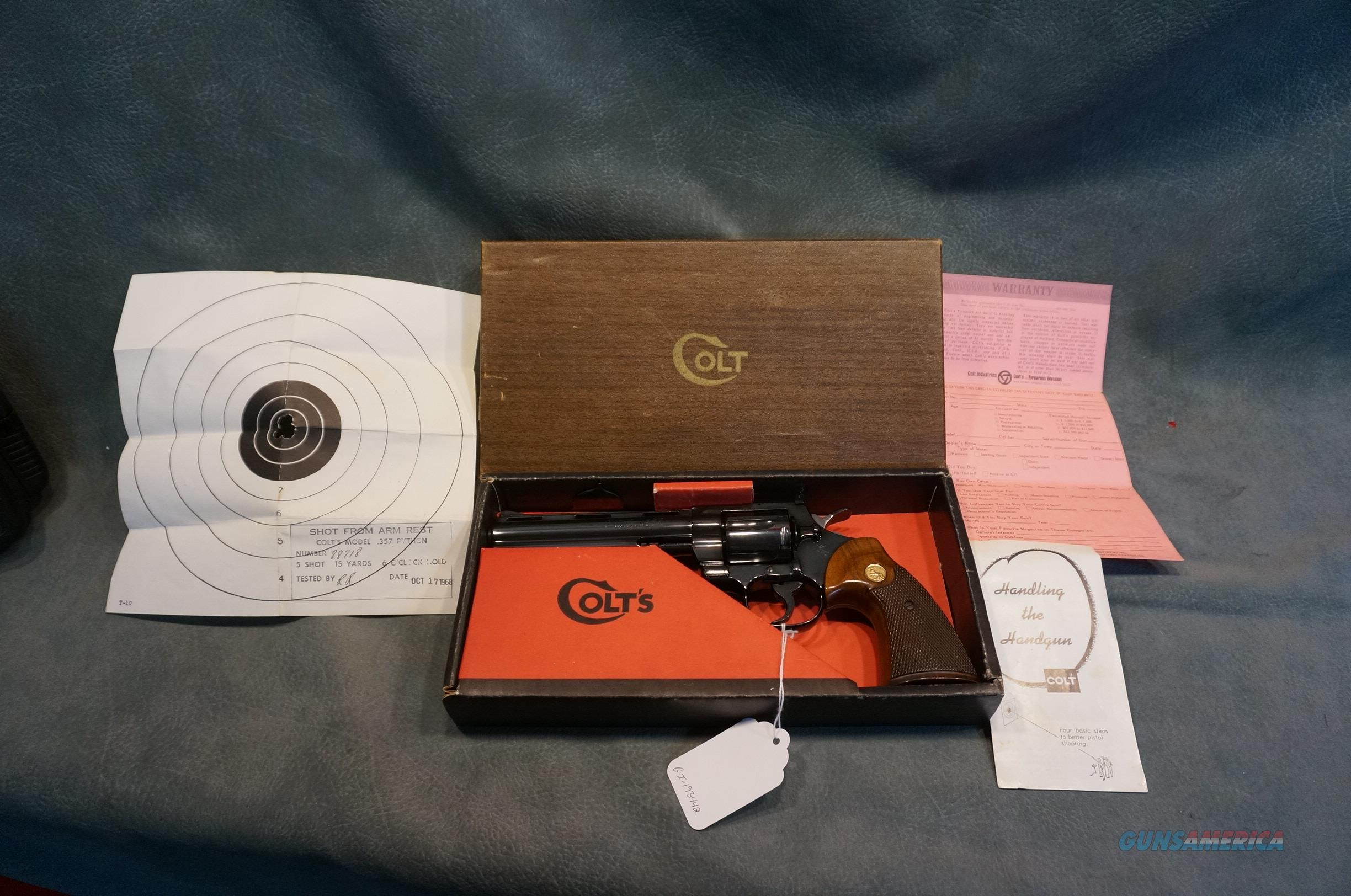 "Colt Python 357Mag 6"" bbl made in 1968 w/box,papers,test target!  Guns > Pistols > Colt Double Action Revolvers- Modern"
