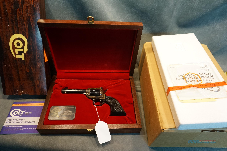 Colt New Frontier John Wayne 22LR new in the wood case.  Guns > Pistols > Colt Commemorative Pistols