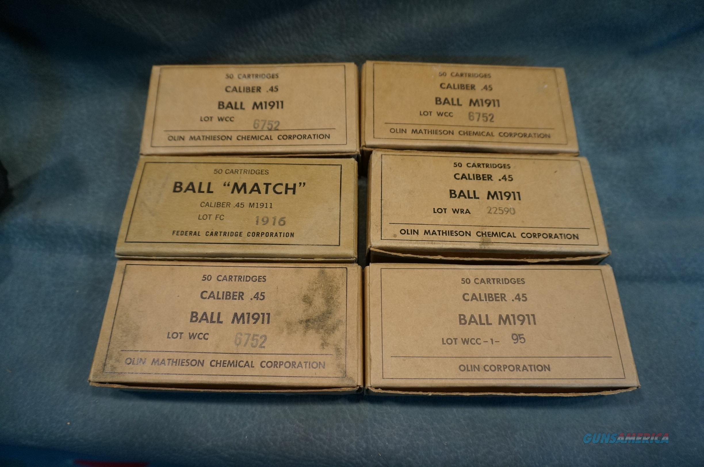 M1911 45 Ball US Military ammo,various makers 6 boxes  Non-Guns > Ammunition