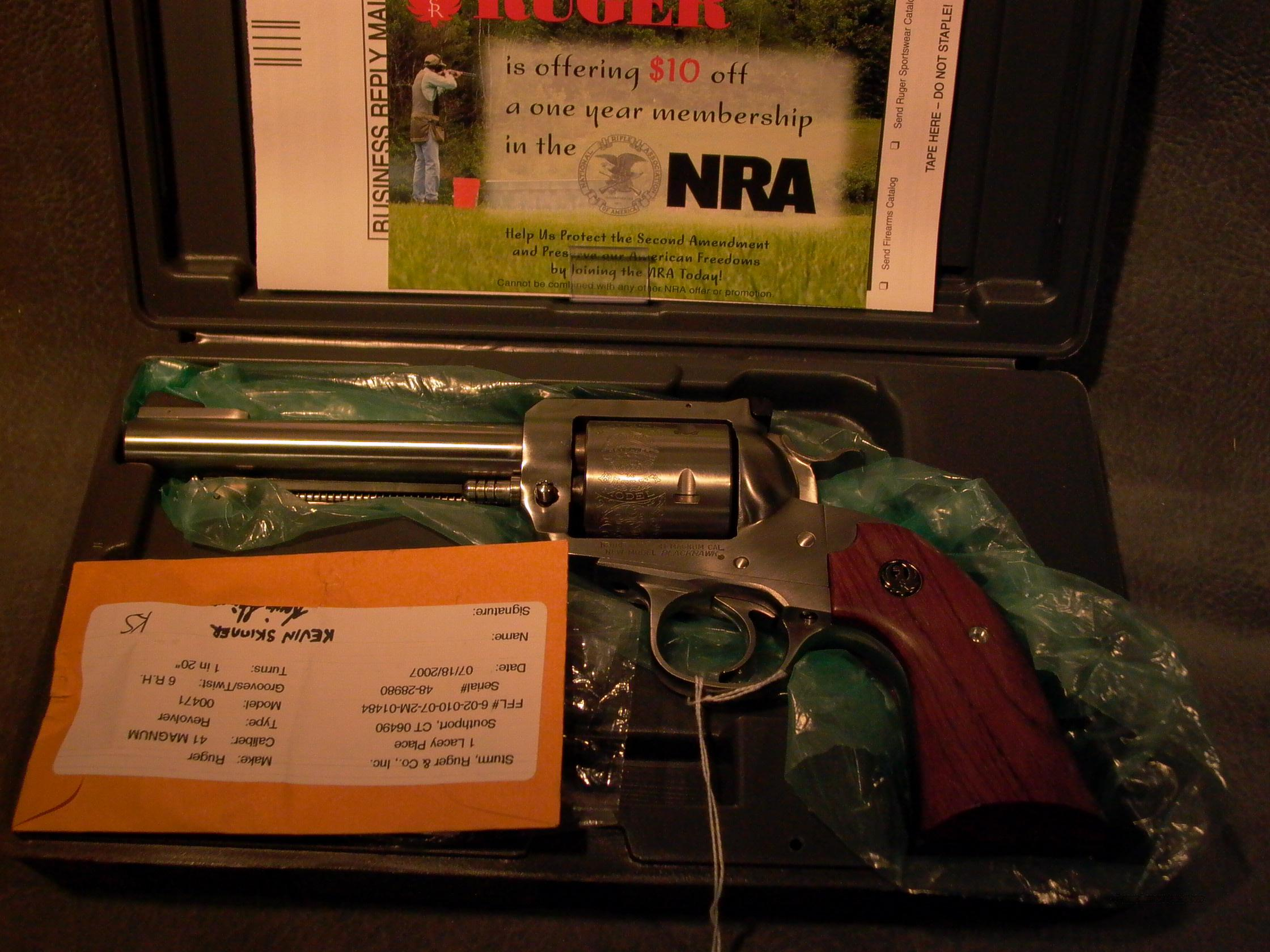 Ruger Stainless Bisley 41Mag  Guns > Pistols > Ruger Single Action Revolvers > Blackhawk Type