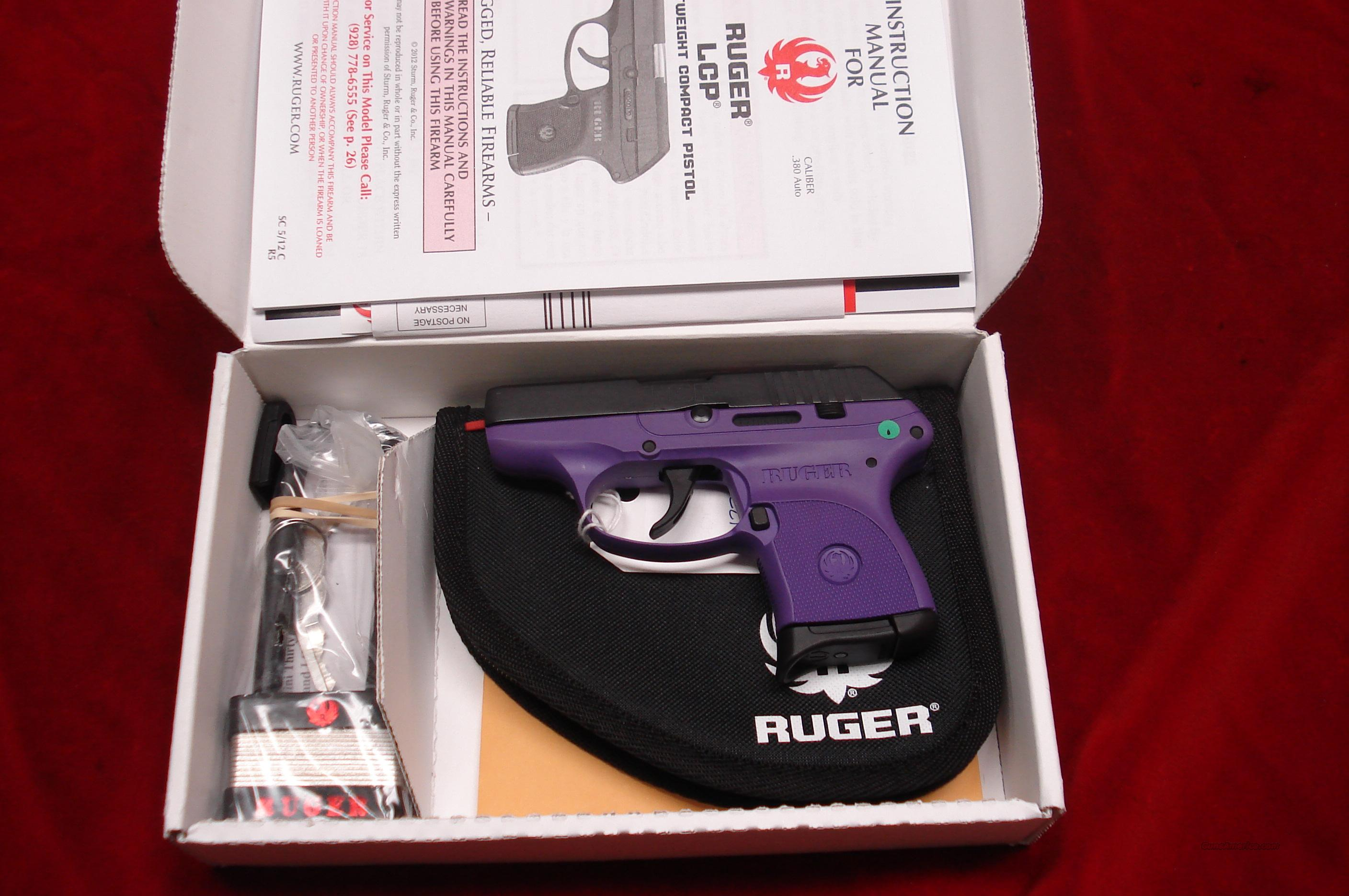 RUGER LCP-PG PURPLE GRIP (Lightweight Compact Pistol) 380CAL. NEW  Guns > Pistols > Ruger Semi-Auto Pistols > LCP