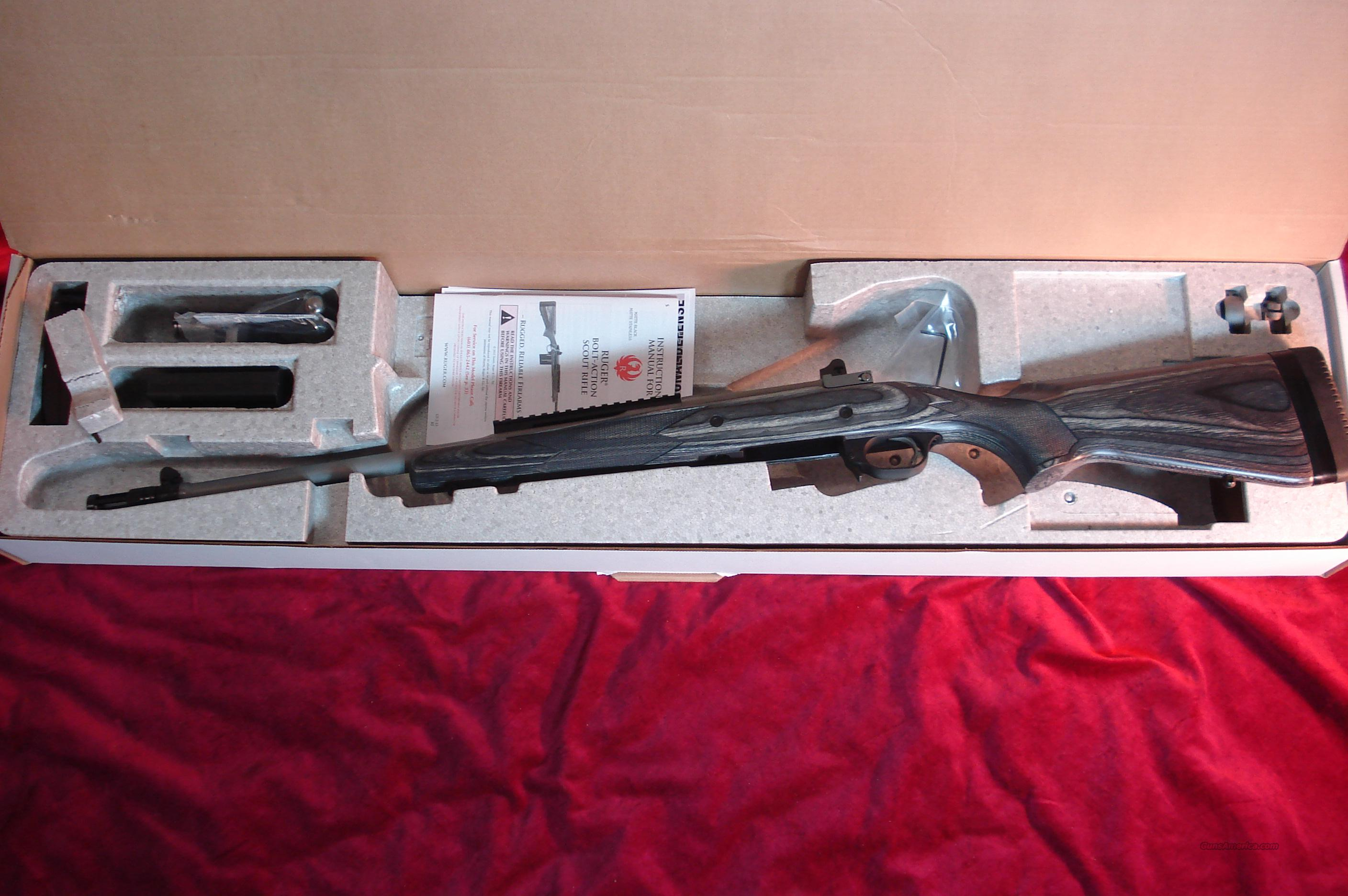 RUGER STAINLESS M77 GUNSITE SCOUT 308 CAL. NEW (KM77-GS)  Guns > Rifles > Ruger Rifles > Model 77