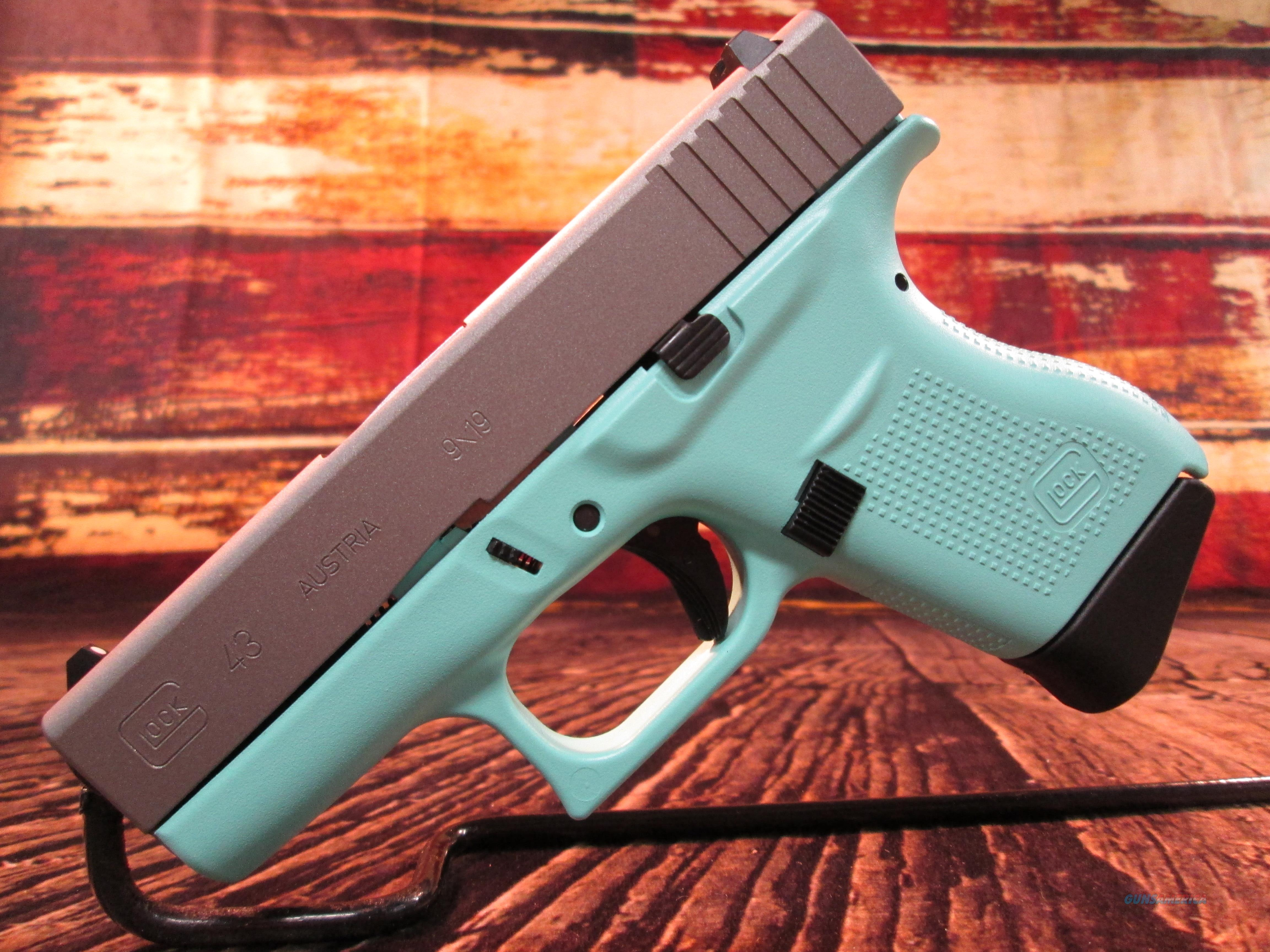 GLOCK 43 9MM EGG SHELL BLUE FRAME W/ STAINLESS STEEL SLIDE NEW (PI4350201EBSS)  Guns > Pistols > Glock Pistols > 43