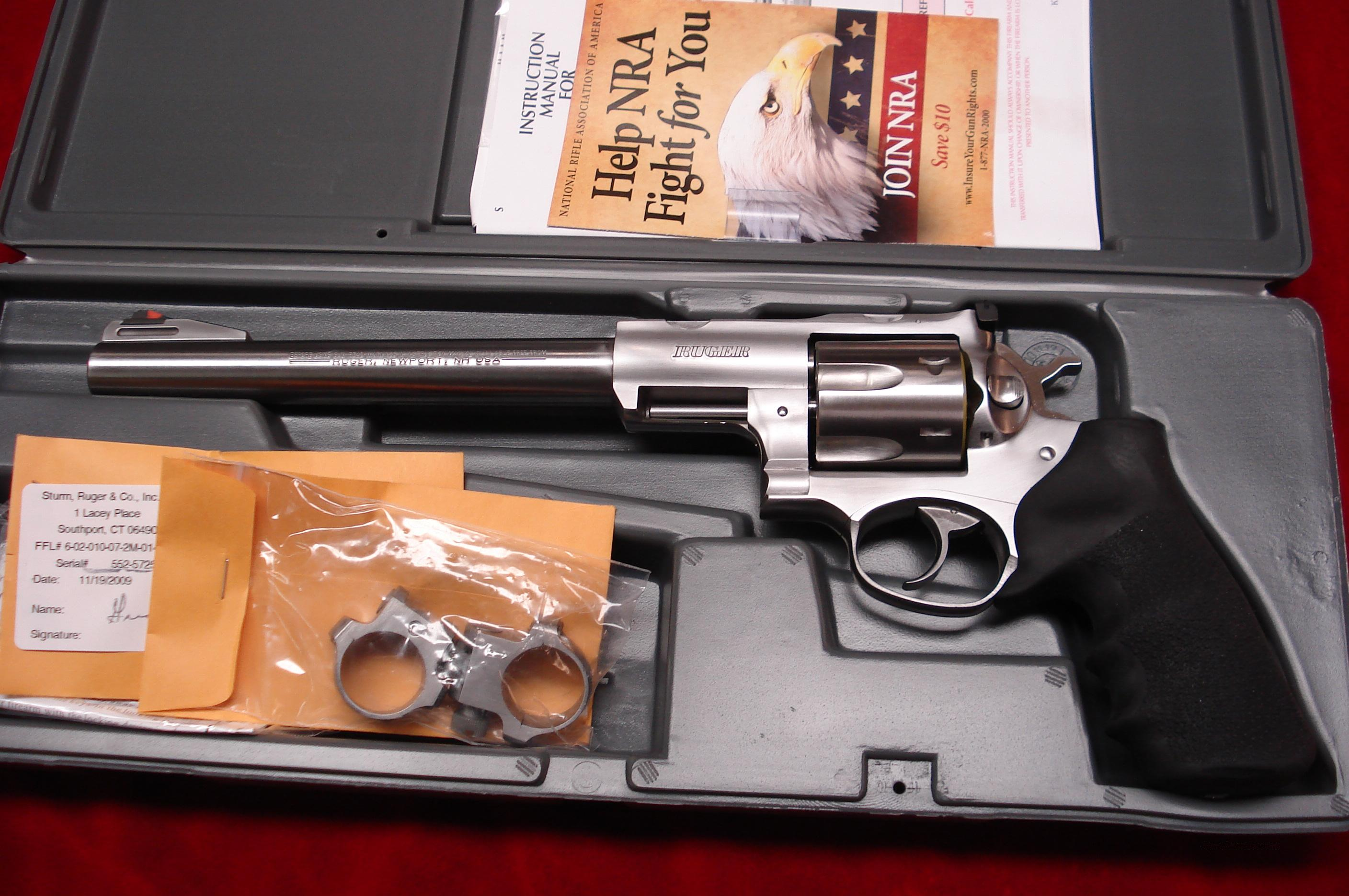 "RUGER SUPER REDHAWK HUNTER 9.5"" STAINLESS 44MAG. WITH RINGS NEW IN THE BOX (KSRH-9)  Guns > Pistols > Ruger Double Action Revolver > Redhawk Type"
