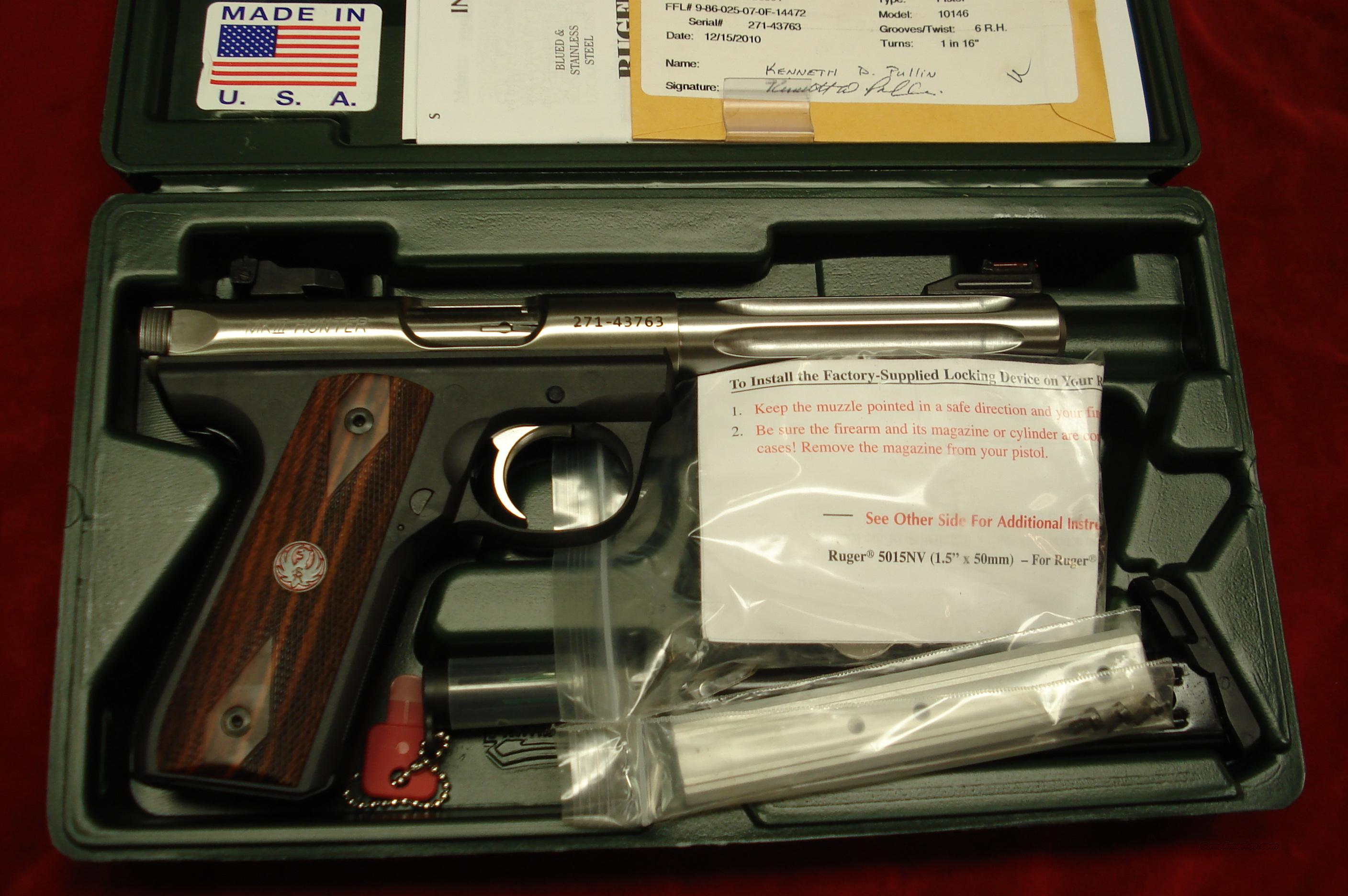 RUGER 22/45RP (REPLACEABLE PANELS) MKIII HUNTER 5.5 STAINLESS FLUTED BULL BARREL NEW (KP512HMK3RP)  Guns > Pistols > Ruger Semi-Auto Pistols > Mark I & II Family