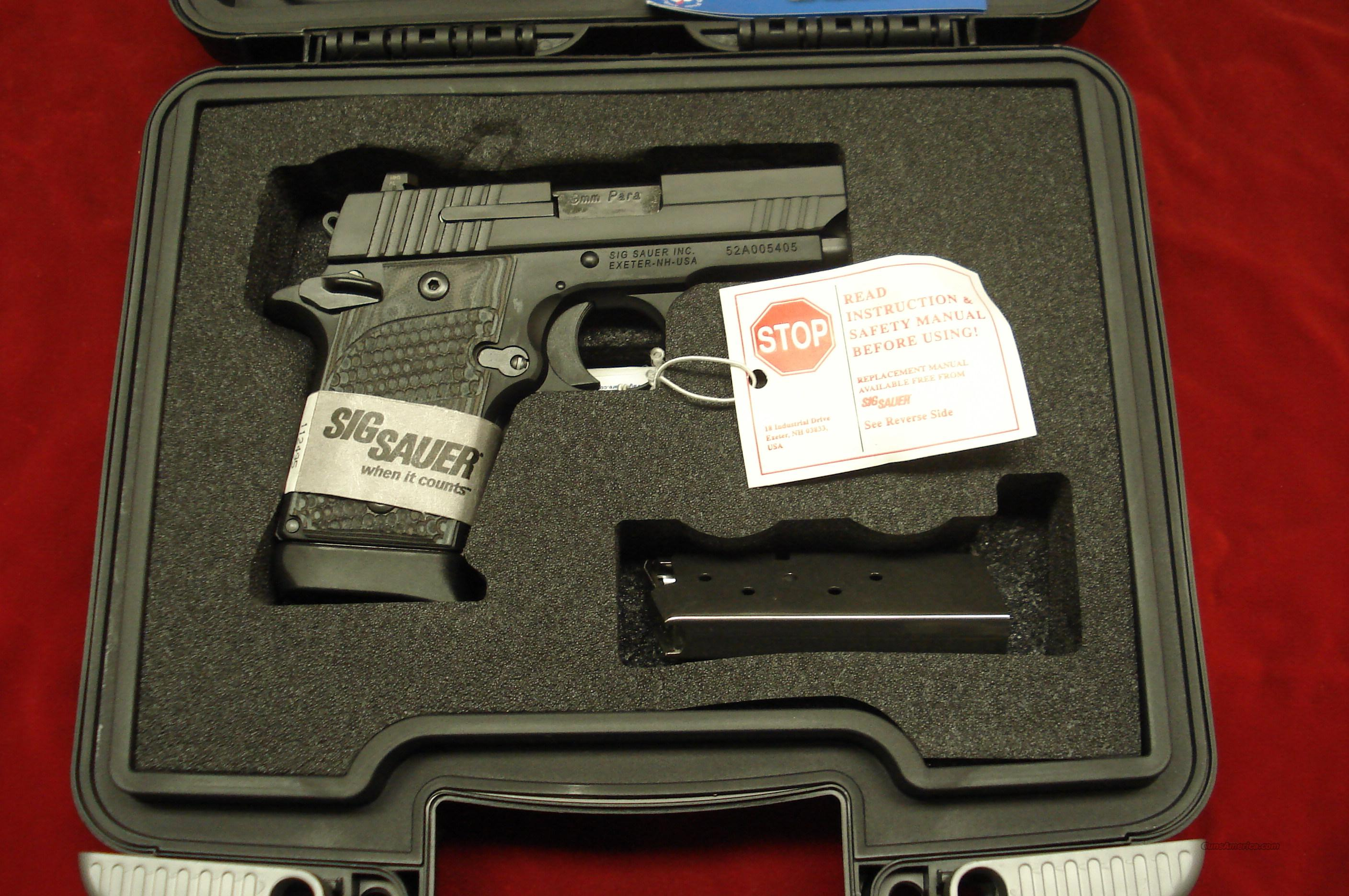 SIG SAUER 938 9MM W/NIGHT SIGHTS AND G-10 GRIPS NEW   (938-9-XTM-BLKGRY-AMBI)  Guns > Pistols > Sig - Sauer/Sigarms Pistols > P938