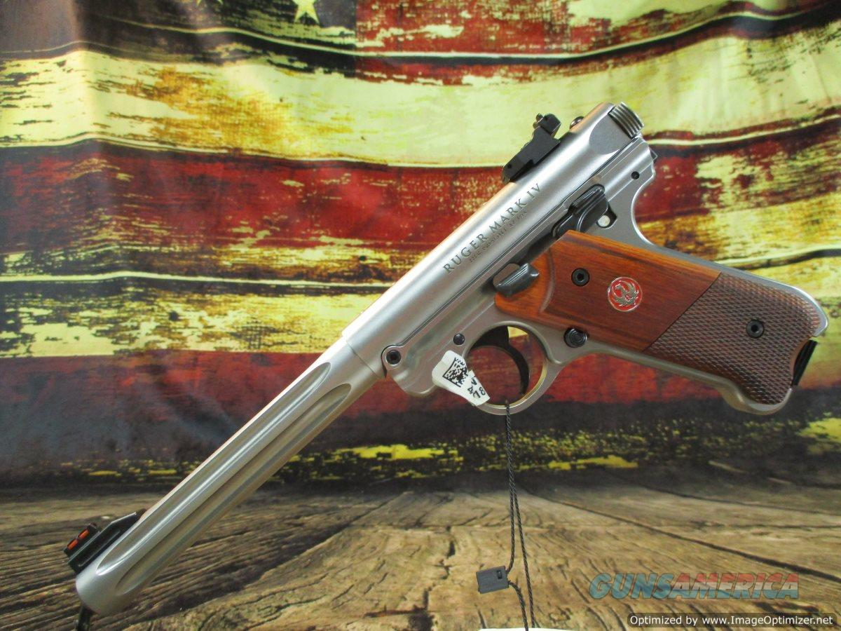 "Ruger MKIV Hunter 22 LR Stainless Fluted 6.8"" New (40118)    Guns > Pistols > Ruger Semi-Auto Pistols > Mark I/II/III/IV Family"