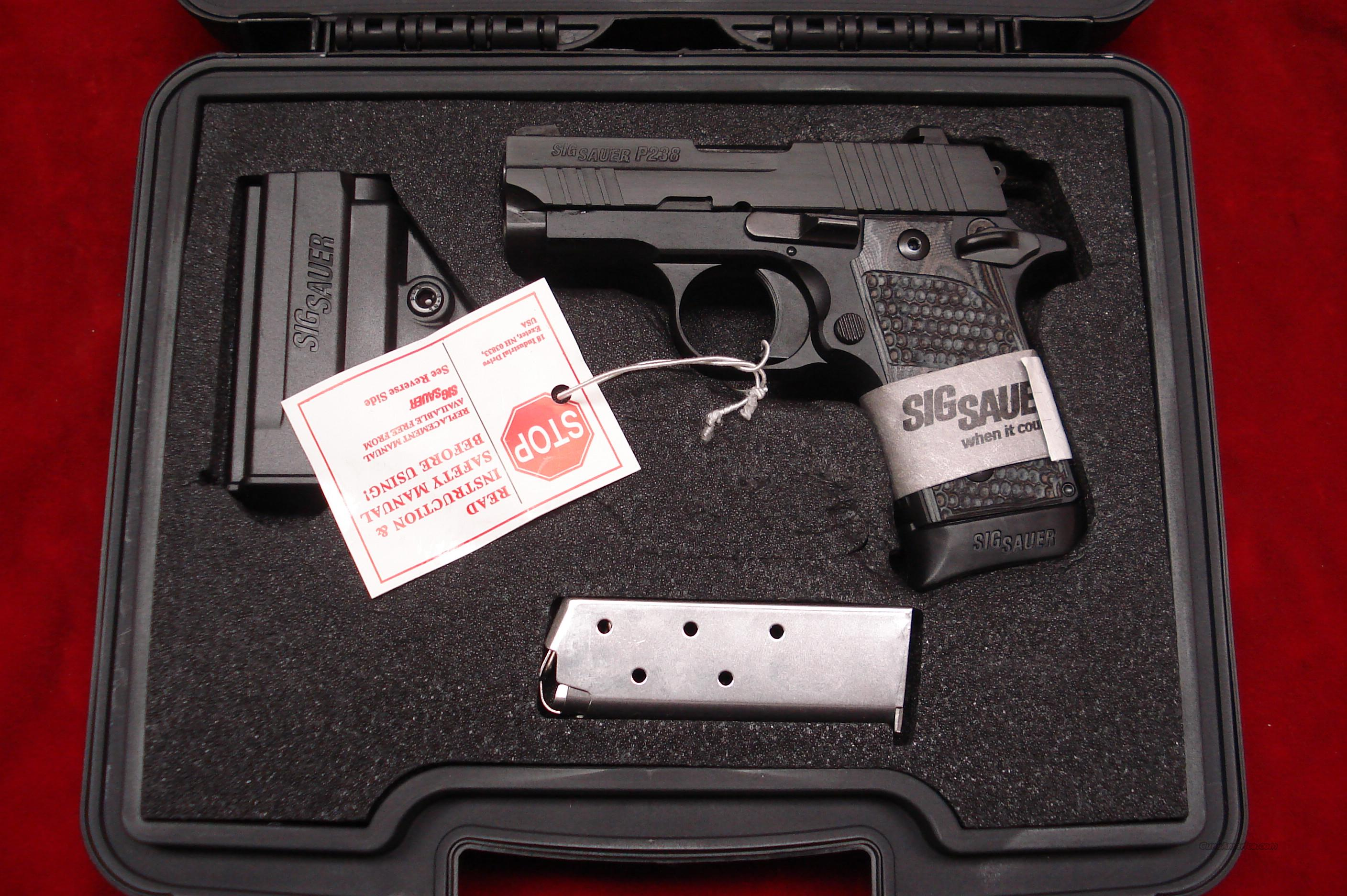 SIG SAUER P238 380CAL. W/NIGHT SIGHTS AND G-10 GRIPS NEW  (238-380-XTM-BLKGRY)    {{ FACTORY MAIL IN REBATE OFFER }}  Guns > Pistols > Sig - Sauer/Sigarms Pistols > Other