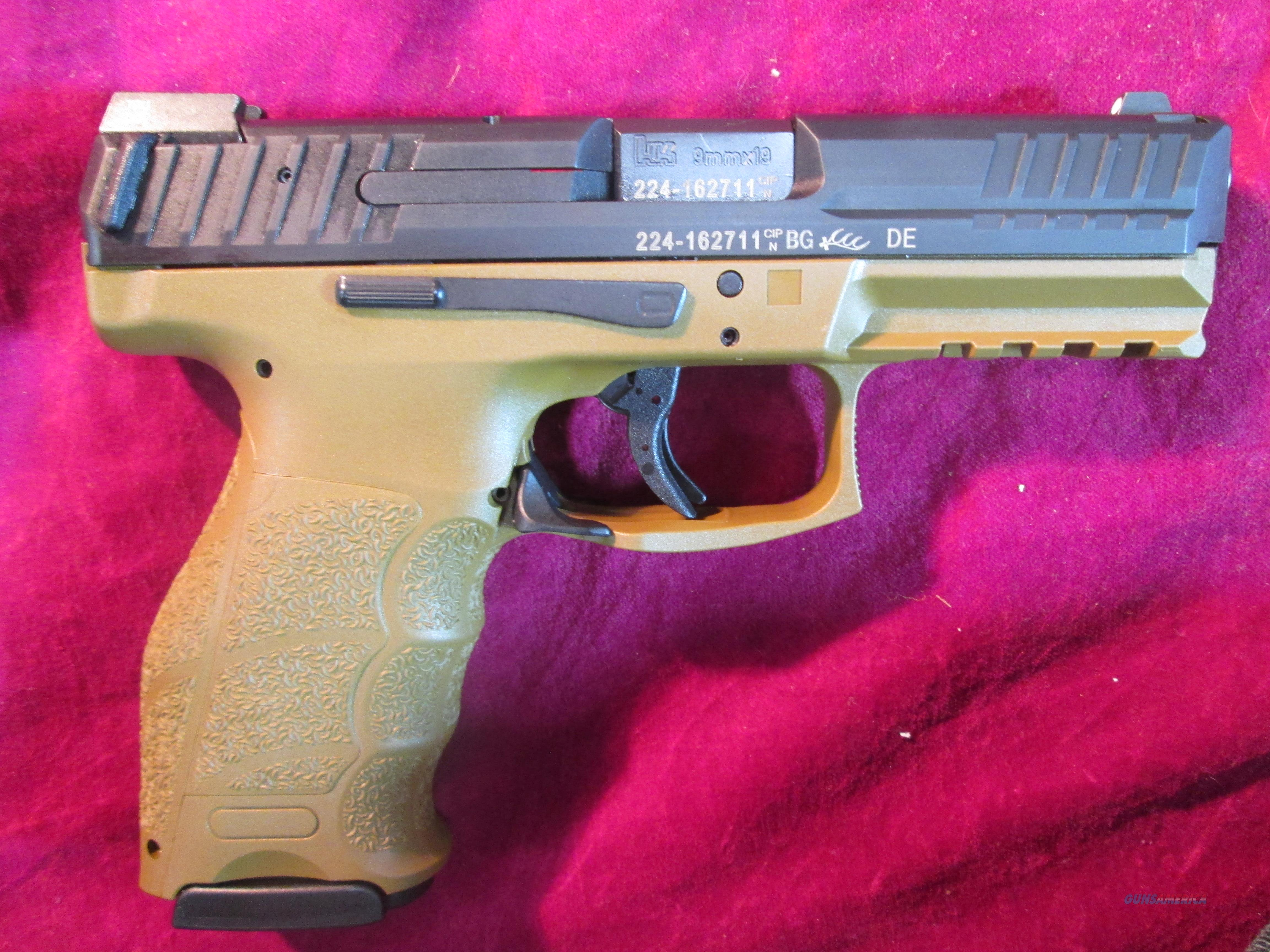 HK VP9 FLAT DARK EARTH 9MM LE STRIKER FIRED W/ NIGHT SIGHTS AND 3 HIGH CAP MAGS NEW (700009FDELE-A5)    Guns > Pistols > Heckler & Koch Pistols > Polymer Frame