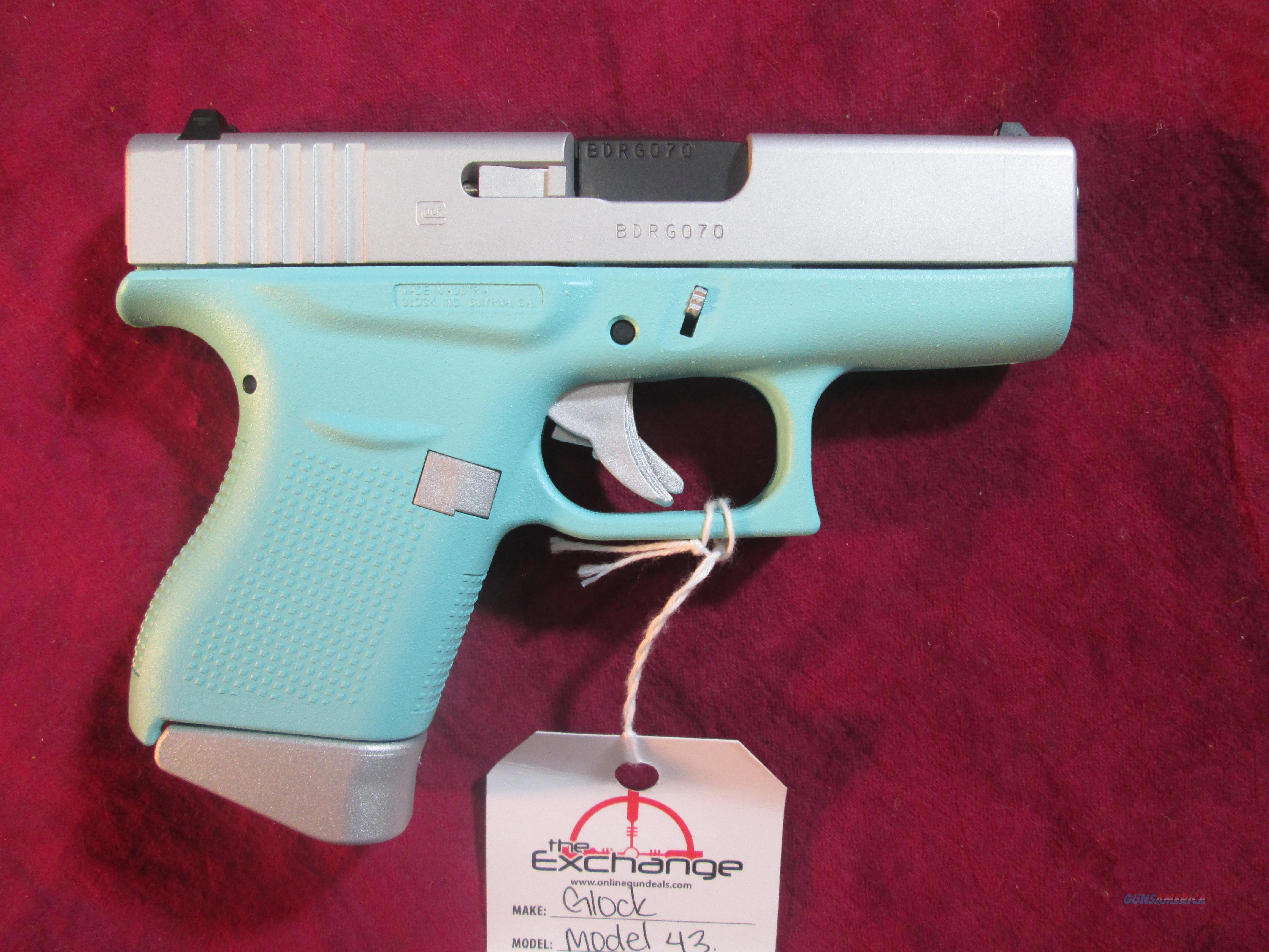 GLOCK 43 9MM ROBINS EGG TWO TONE NEW (PI4350201RESA)  Guns > Pistols > Glock Pistols > 43