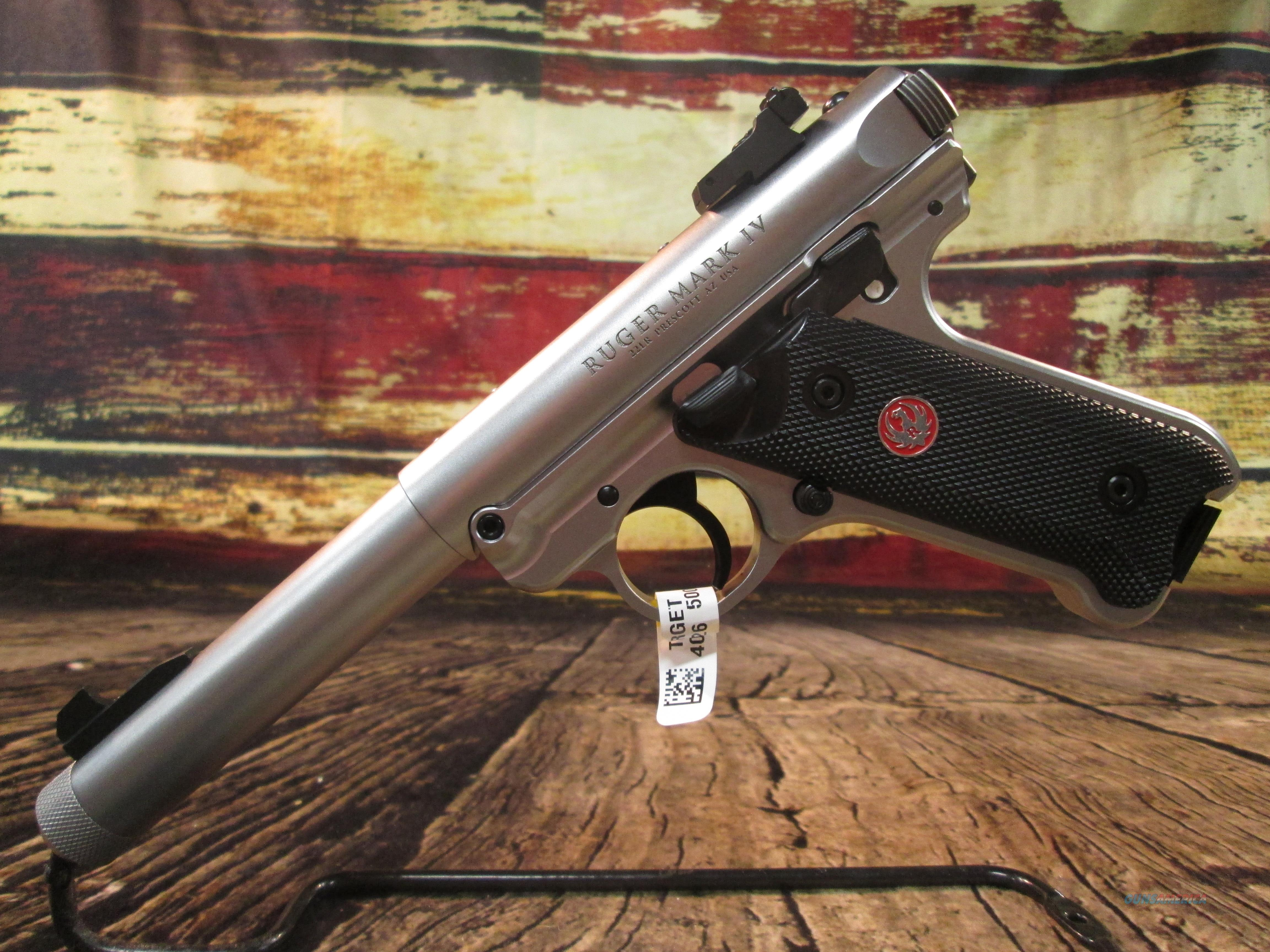 "RUGER MKIV TARGET 5.5"" STAINLESS 22LR (40126)  Guns > Pistols > Ruger Semi-Auto Pistols > Mark I/II/III/IV Family"
