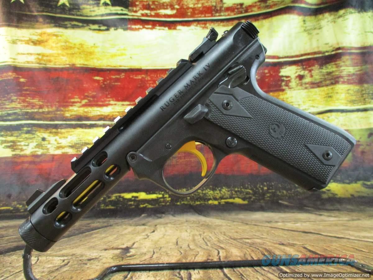 Ruger 22 LR MKIV 22/45 Lite Black W/Gold Accents New (43927)  Guns > Pistols > Ruger Semi-Auto Pistols > Mark I/II/III/IV Family