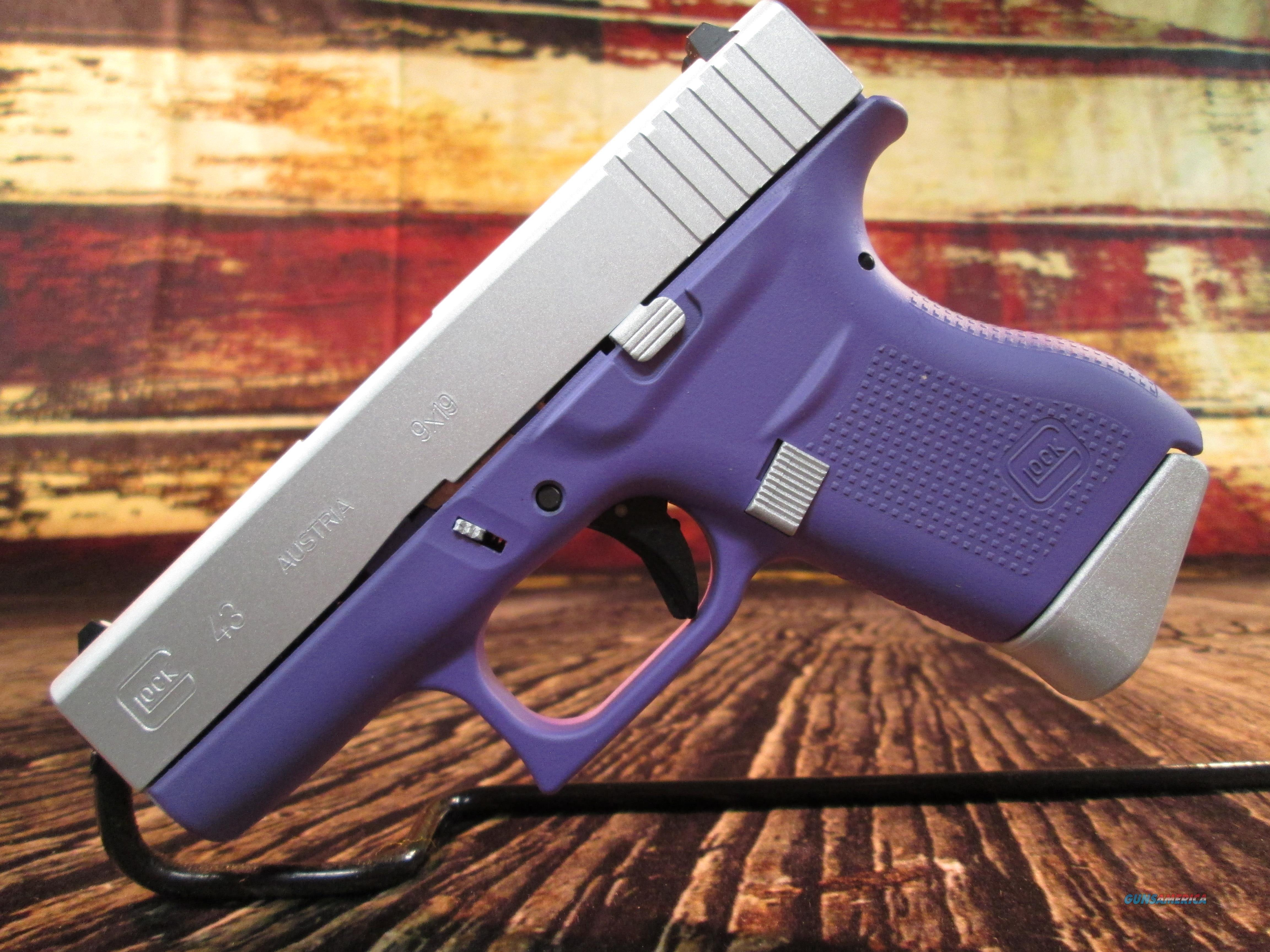 GLOCK 43 9MM PURPLE W/ CERAKOTE SLIDE NEW (PI4350201BPSA)  Guns > Pistols > Glock Pistols > 43