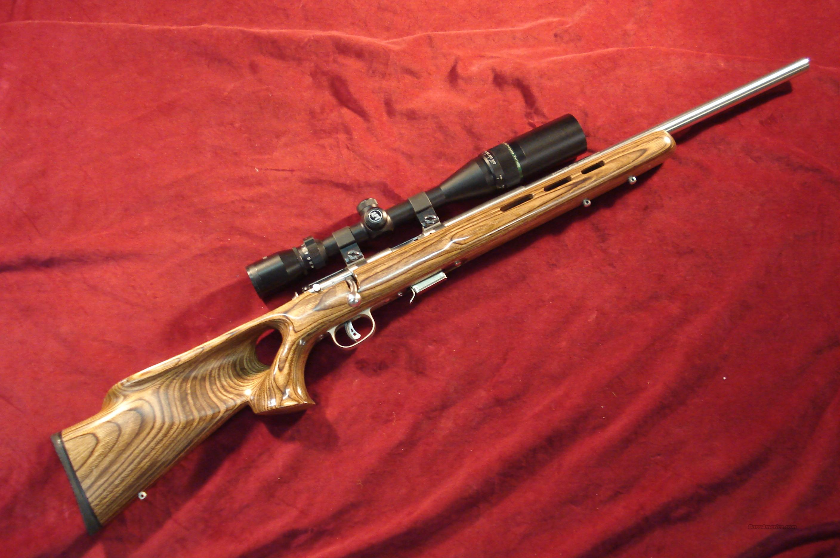 SAVAGE 17HMR STAINLESS LAMINATE THUMBHOLE WITH SCOPE USED (93R17BTVS)  Guns > Rifles > Savage Rifles > Accutrigger Models > Sporting