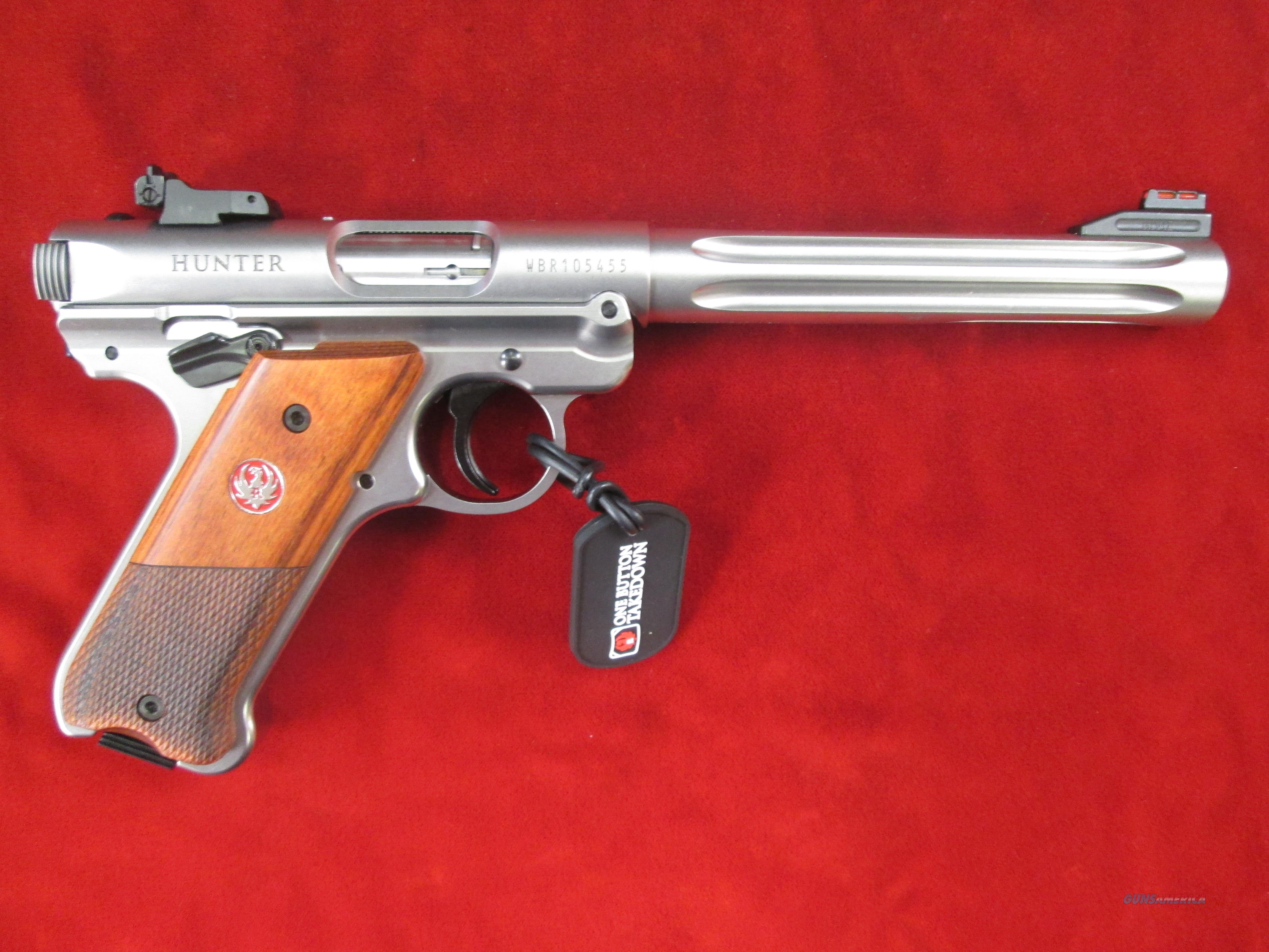 "RUGER MARK IV HUNTER 6 7/8"" STAINLESS FLUTED 22LR NEW (40118)   Guns > Pistols > Ruger Semi-Auto Pistols > Mark I/II/III/IV Family"