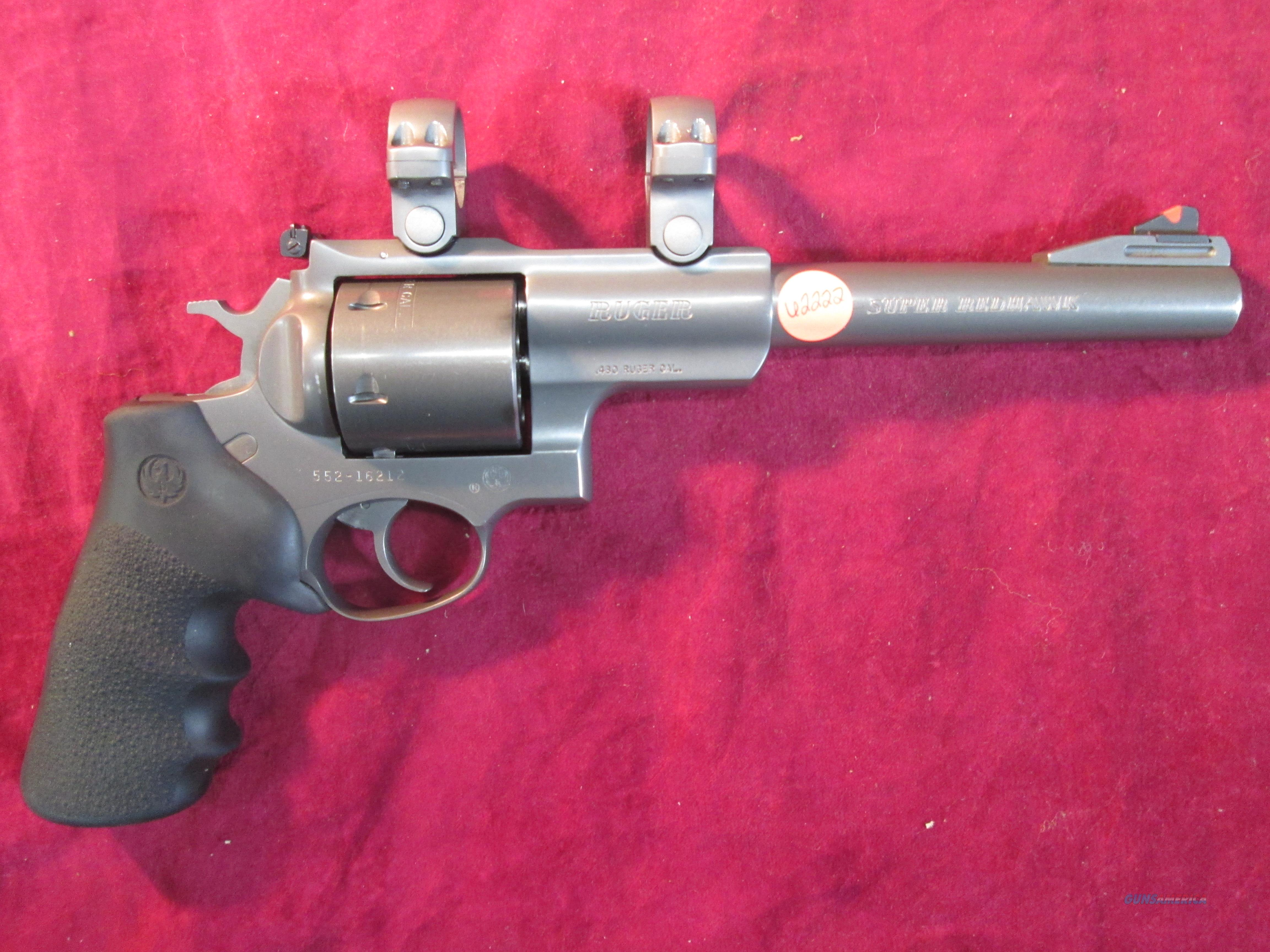 "RUGER SUPER REDHAWK 7.5"" 480 RUGER TARGET GRAY STAINLESS WITH RINGS USED   Guns > Pistols > Ruger Double Action Revolver > Redhawk Type"