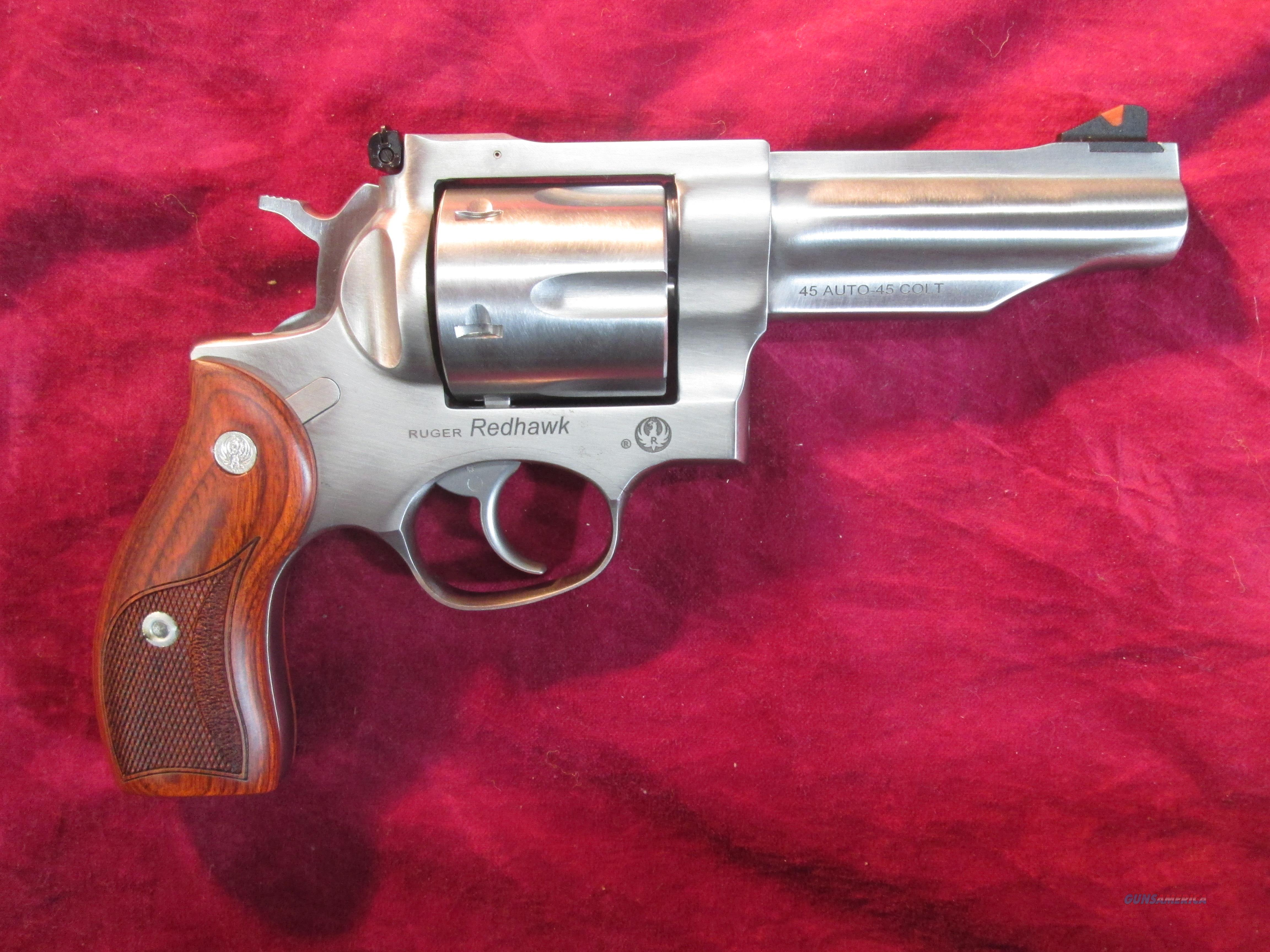 "RUGER STAINLESS REDHAWK 45COLT/ 45 ACP 4.2"" NEW (KRH45A)  Guns > Pistols > Ruger Double Action Revolver > Redhawk Type"