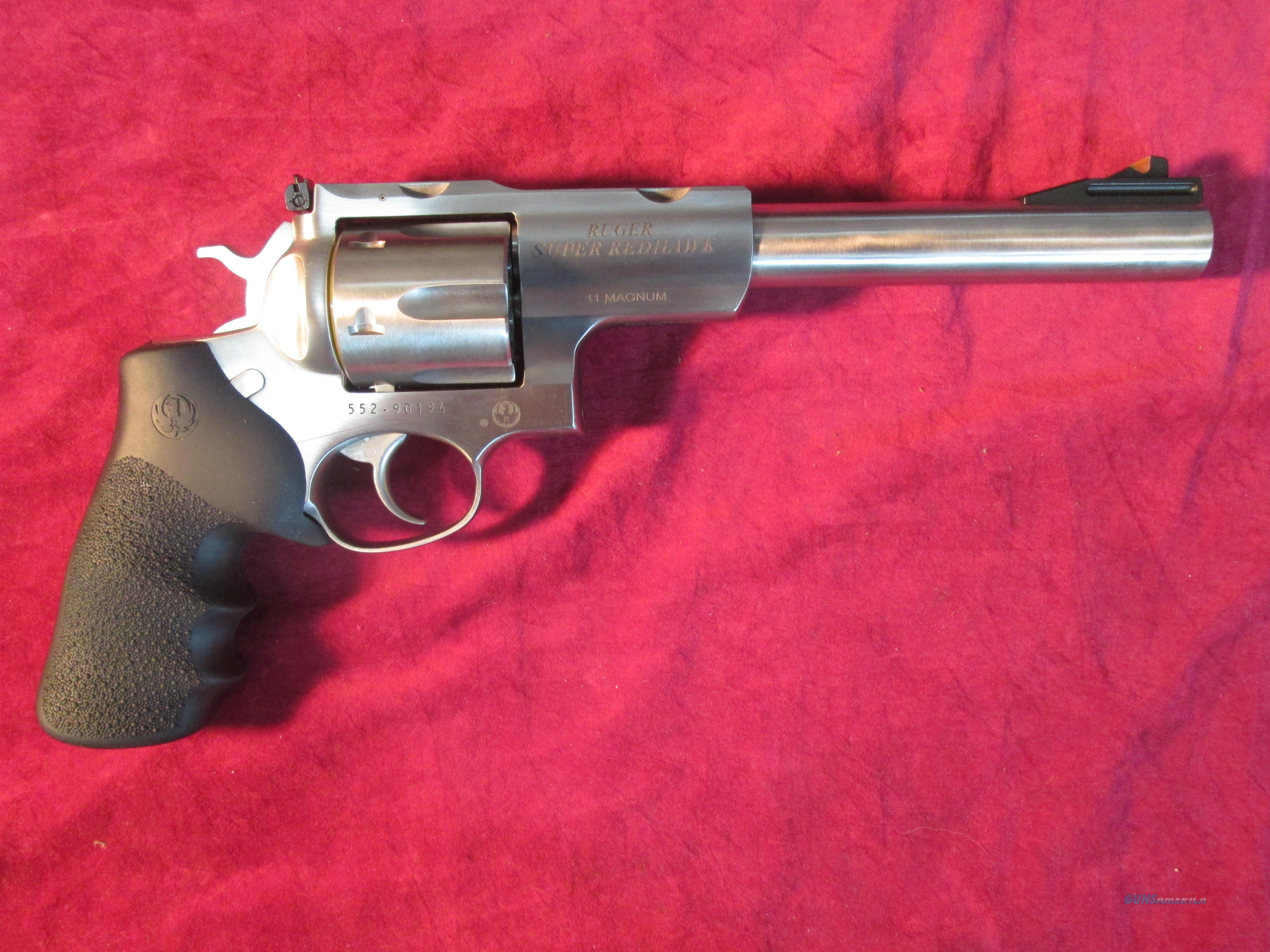 "RUGER SUPER REDHAWK 7.5"" 41 MAGNUM STAINLESS WITH RINGS NEW  (05521)   Guns > Pistols > Ruger Double Action Revolver > Redhawk Type"