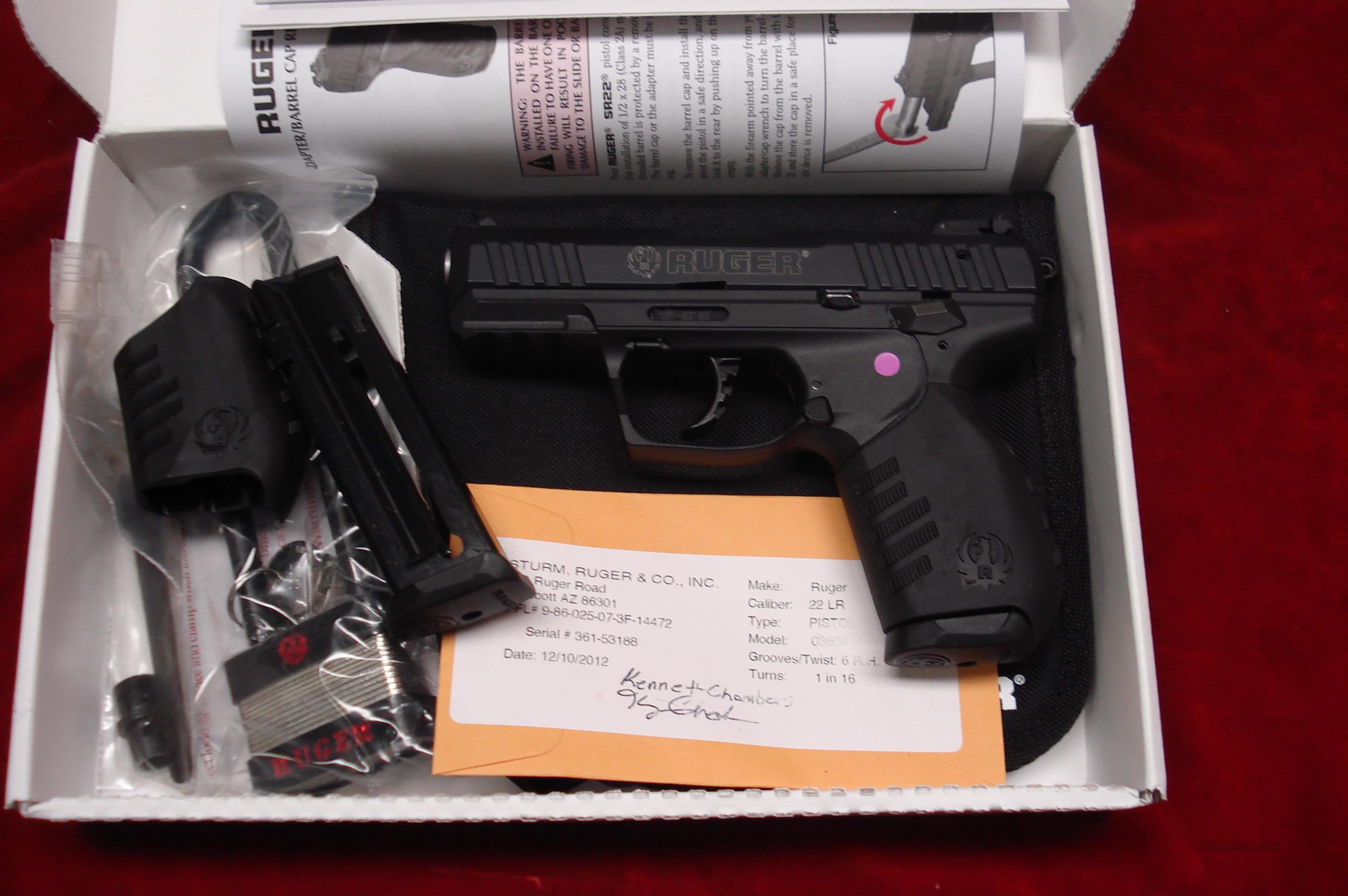 RUGER SR22 PISTOL THREADED BARREL NEW (SR22PBT)  (03604)   Guns > Pistols > Ruger Semi-Auto Pistols > SR Family > SR22