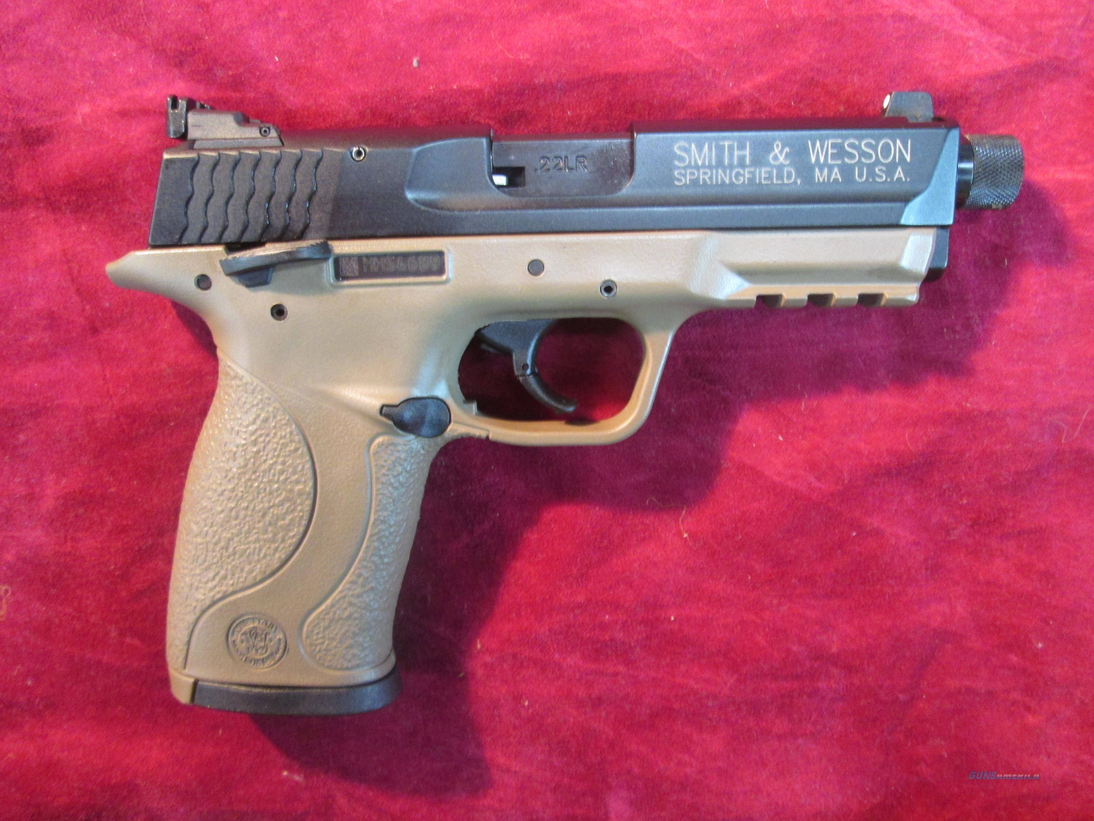 SMITH AND WESSON M&P 22 COMPACT FDE THREADED BARREL 22LR NEW (10242)  Guns > Pistols > Smith & Wesson Pistols - Autos > Polymer Frame