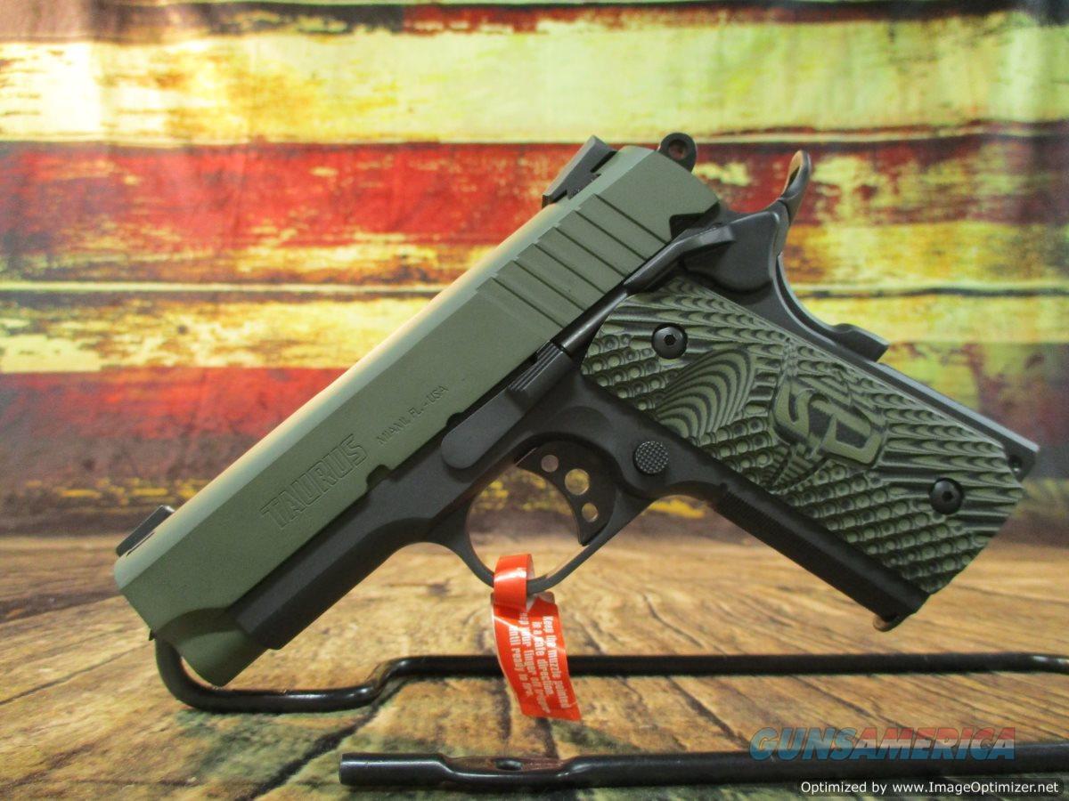 "Taurus 1911 Officer 45acp VZ Grips Mil-Spec Green 3.5"" 6+1 NEW (1-1911OFMG-VZ)  Guns > Pistols > Taurus Pistols > Semi Auto Pistols > Steel Frame"