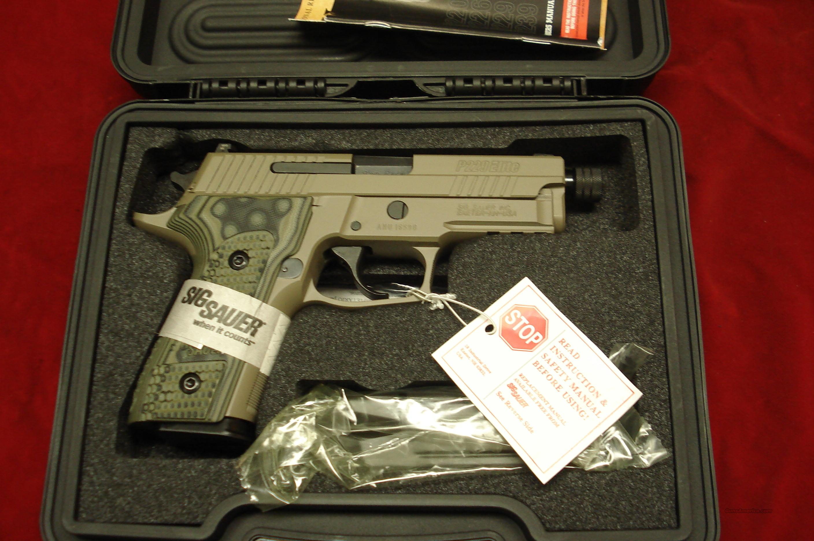 SIG SAUER P229 SCORPION ELITE THREADED BARREL 9MM FLAT DARK EARTH WITH NIGHT SIGHTS NEW   Guns > Pistols > Sig - Sauer/Sigarms Pistols > P229