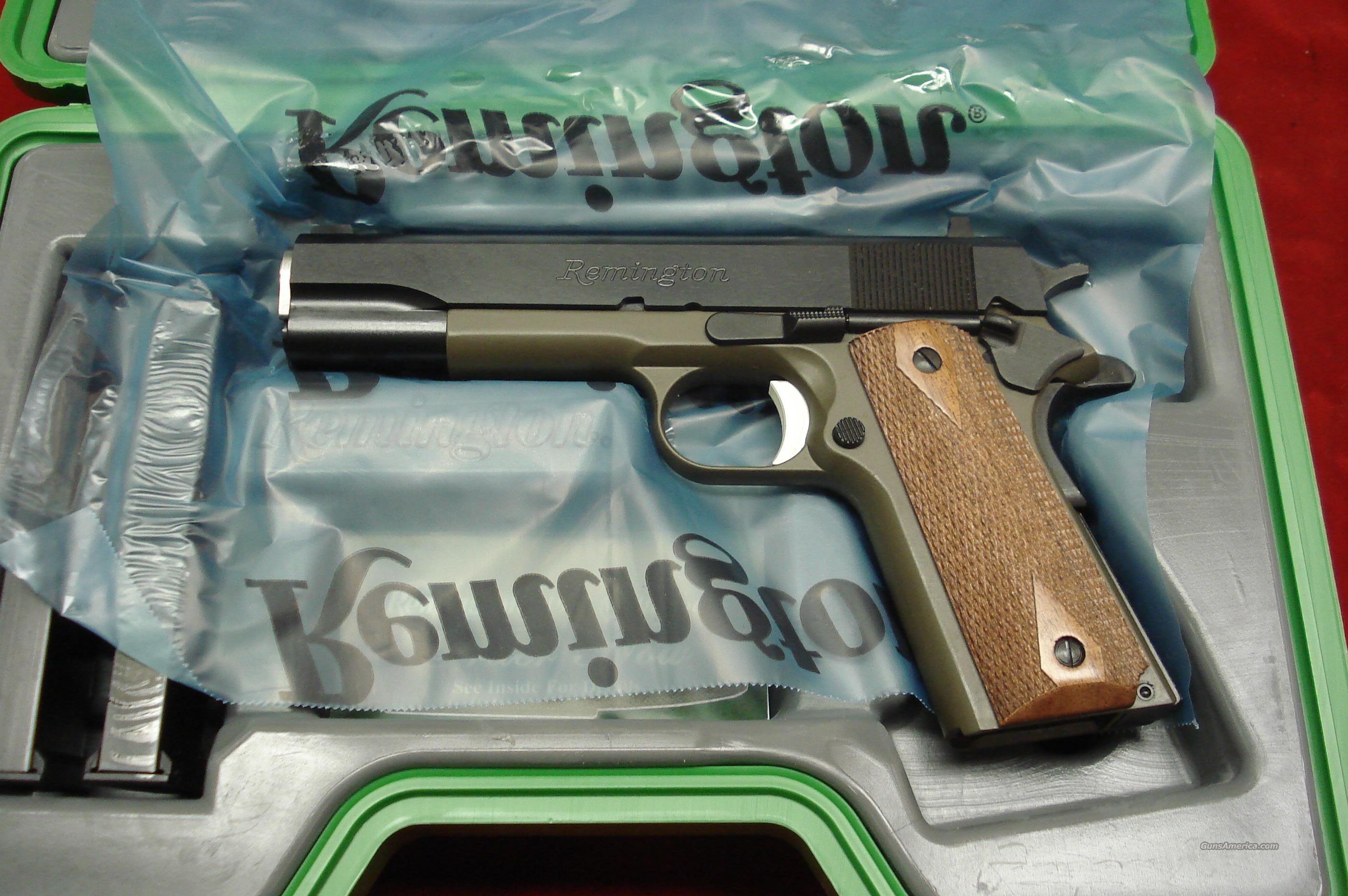 REMINGTON 1911 R1 45ACP GREEN DURACOAT FRAME WITH DOUBLE DIAMOND WALNUT GRIPS NEW {{ IN STOCK READY TO SHIP }}  Guns > Pistols > Remington Pistols - Modern