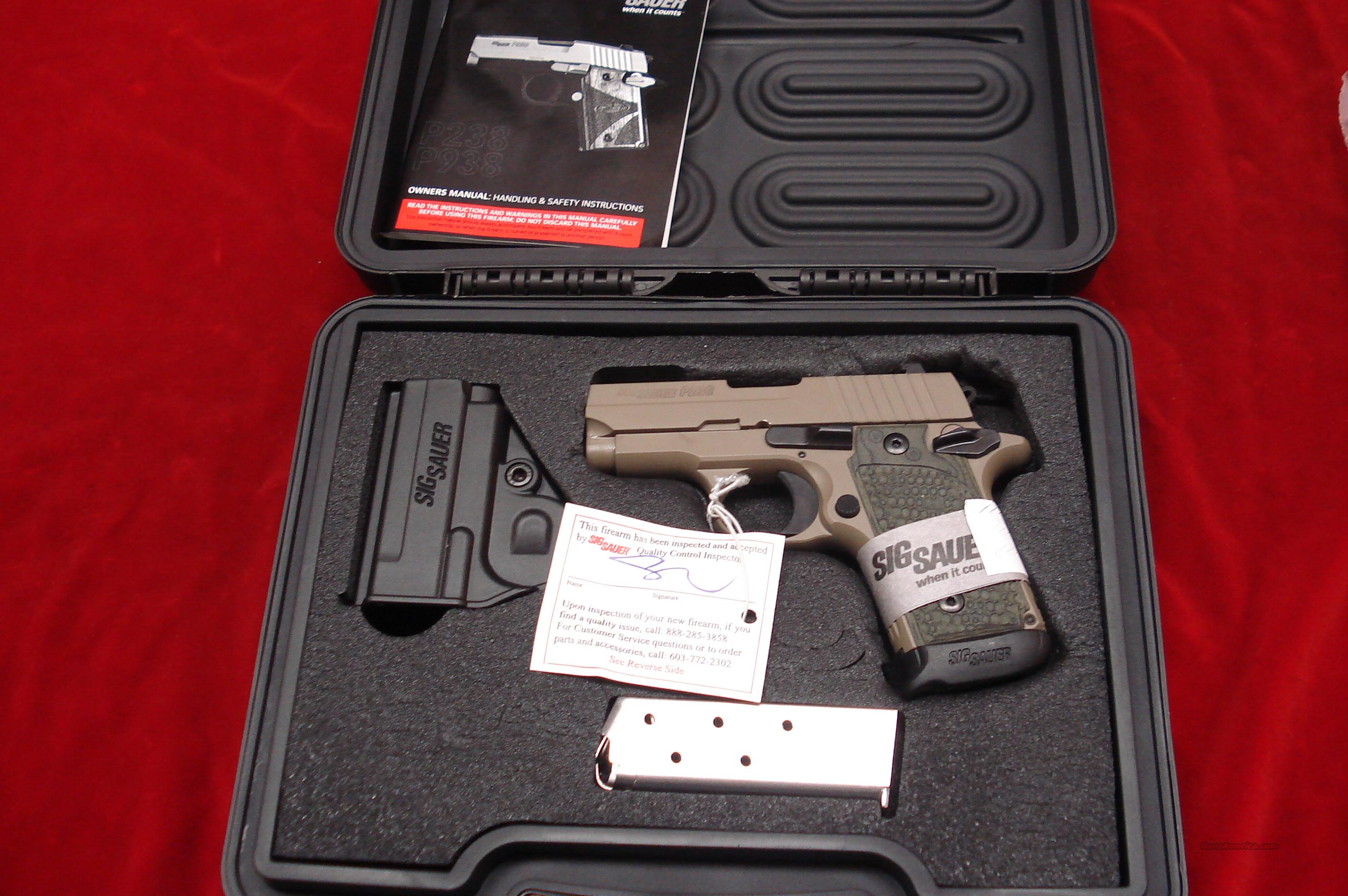 SIG SAUER 380CAL.P238 SCORPION FLAT DARK EARTH WITH  NIGHT SIGHTS NEW   (238-380-SCPN)  Guns > Pistols > Sig - Sauer/Sigarms Pistols > Other