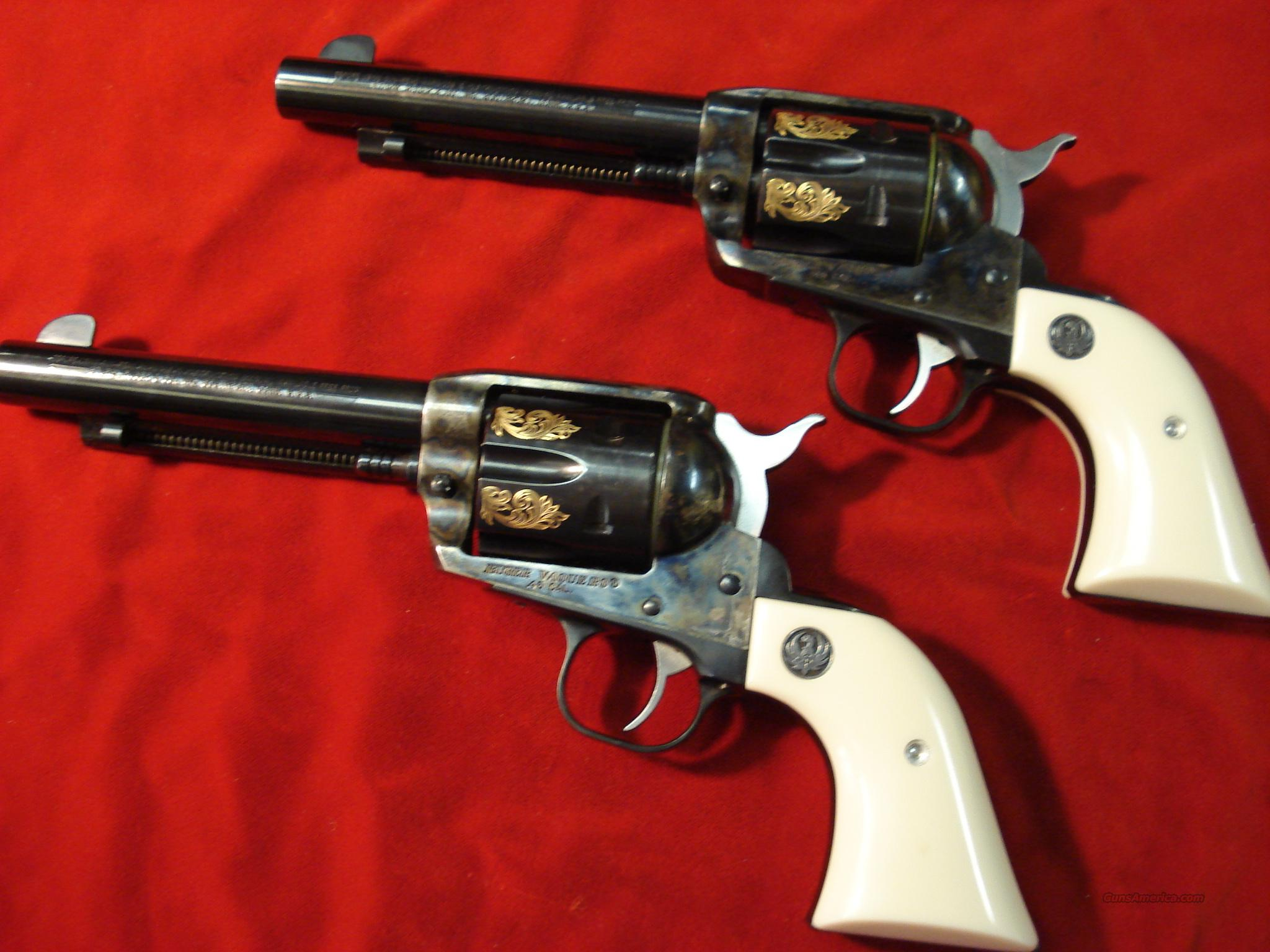 RUGER ENGRAVED VAQUERO 45 COLT MATCHED SET   Guns > Pistols > Ruger Single Action Revolvers > Cowboy Action