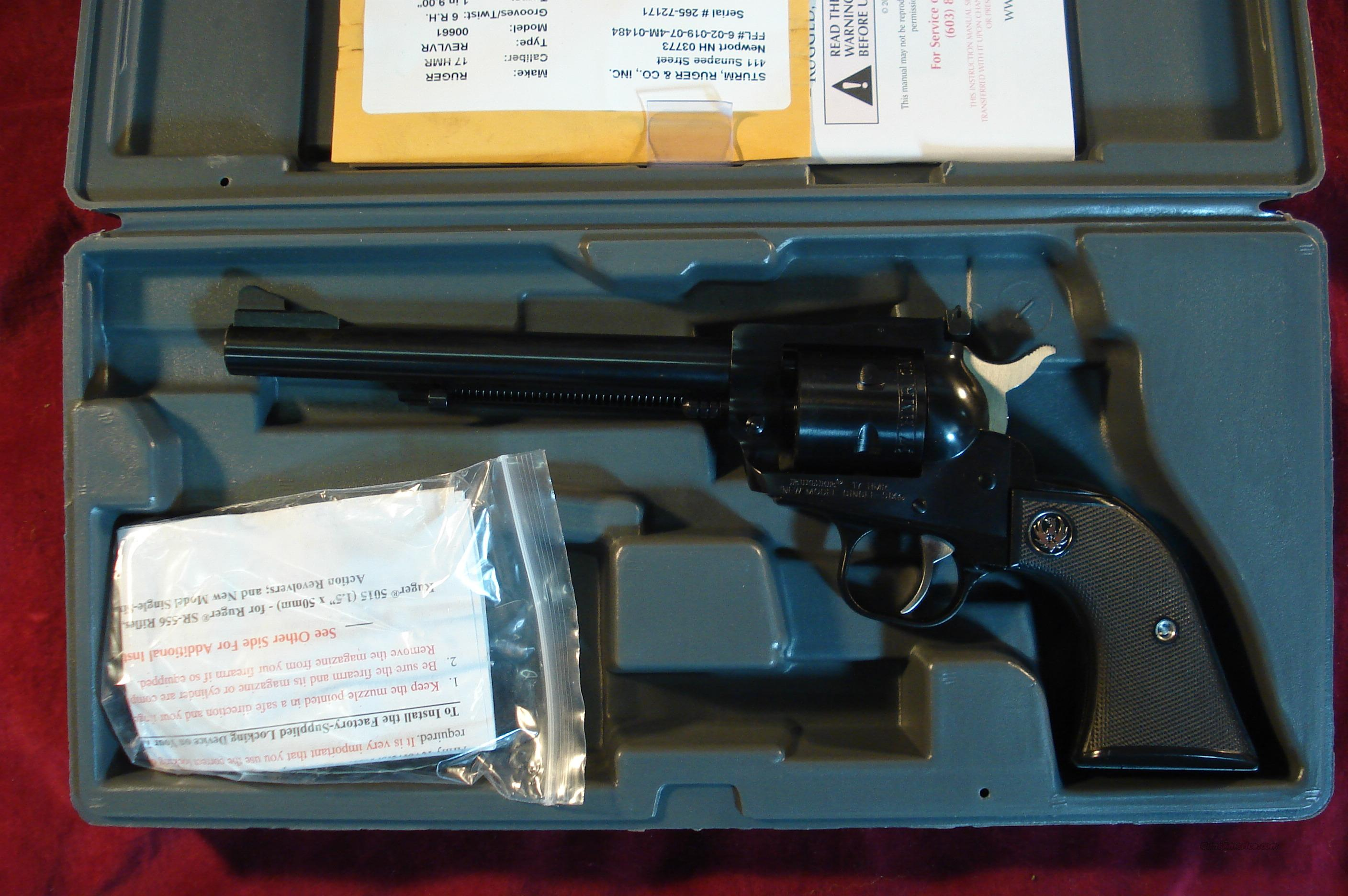 "RUGER .17HMR SINGLE-SIX BLUE 6.5"" NEW (NR-6-17)  Guns > Pistols > Ruger Single Action Revolvers > Single Six Type"