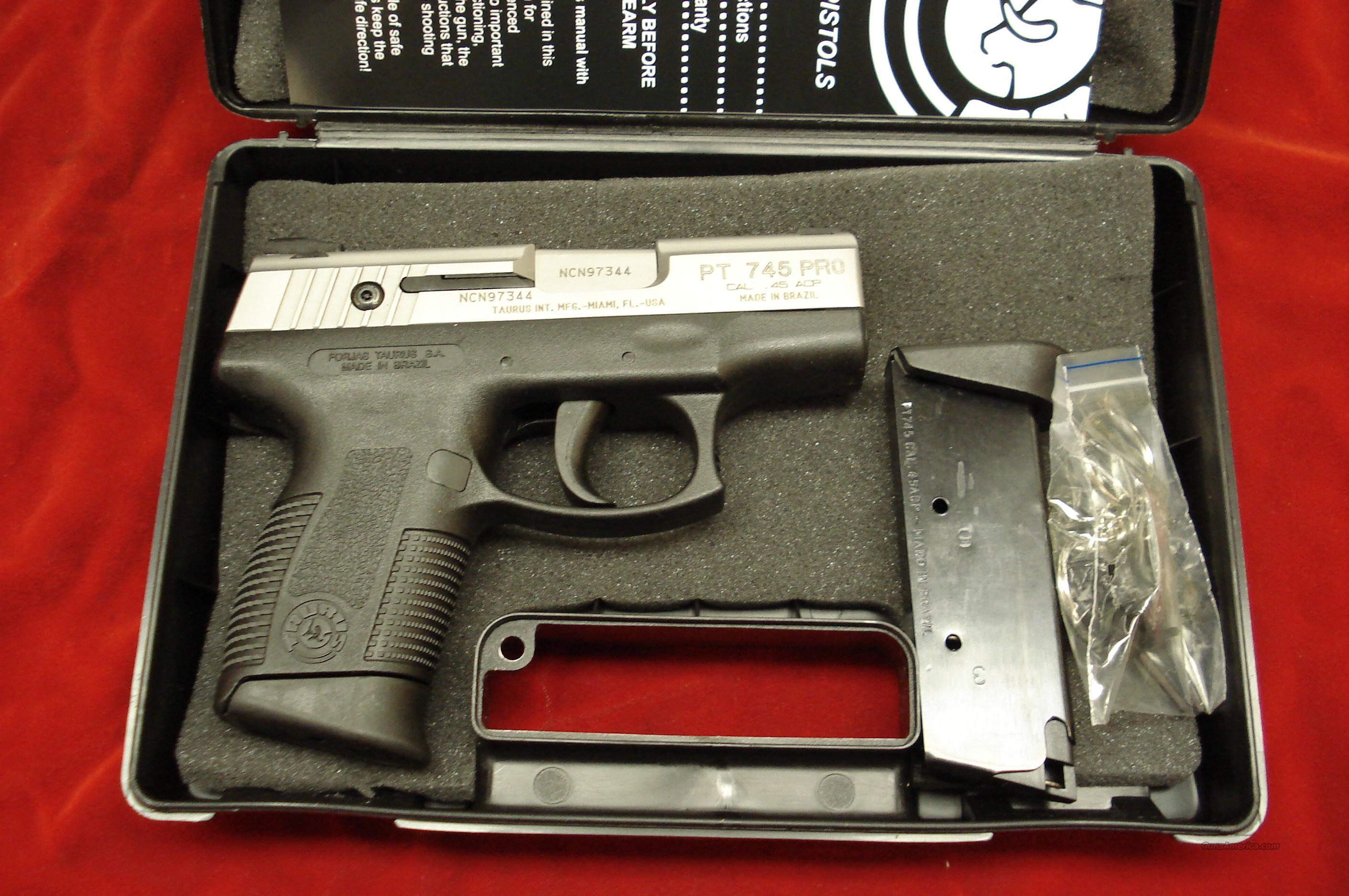 TAURUS PT745 STAINLESS MILLENNIUM PRO 45ACP NEW   Guns > Pistols > Taurus Pistols/Revolvers > Pistols > Polymer Frame