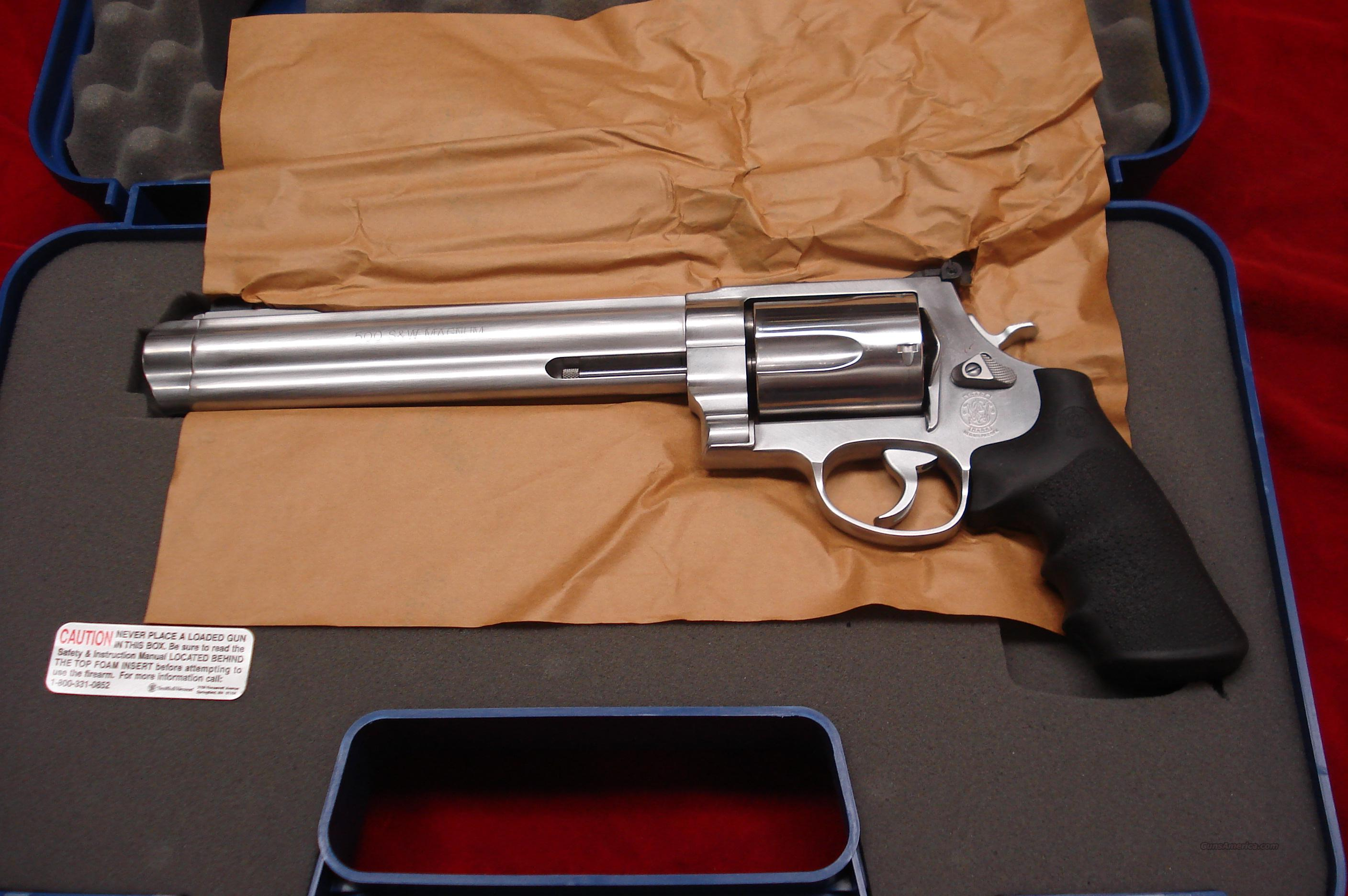 "SMITH AND WESSON MODEL 500 STAINLESS 500S&W CAL. 8 3/8""  NEW  Guns > Pistols > Smith & Wesson Revolvers > Full Frame Revolver"