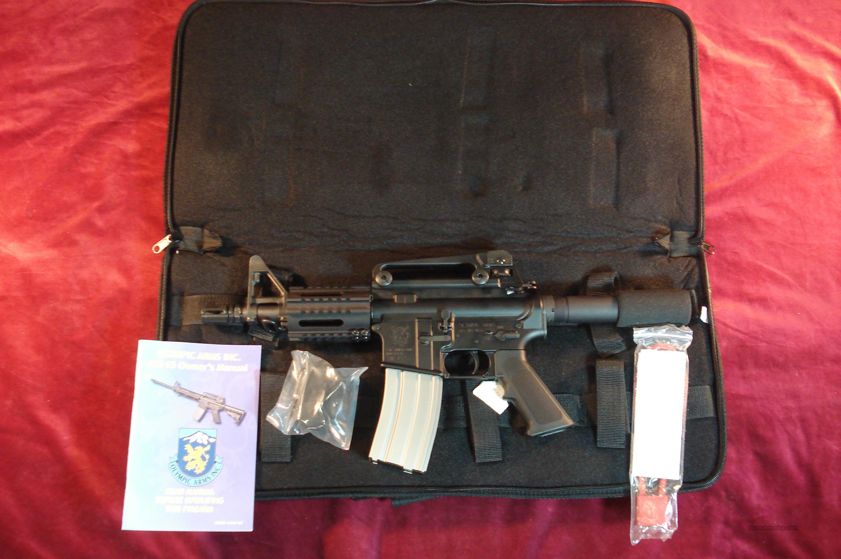 OLYMPIC ARMS AR15 PISTOL 223 CAL, REMOVABLE CARRY HANDLE, FREE FLOAT QUAD RAIL NEW  Guns > Pistols > Olympic Arms Pistols