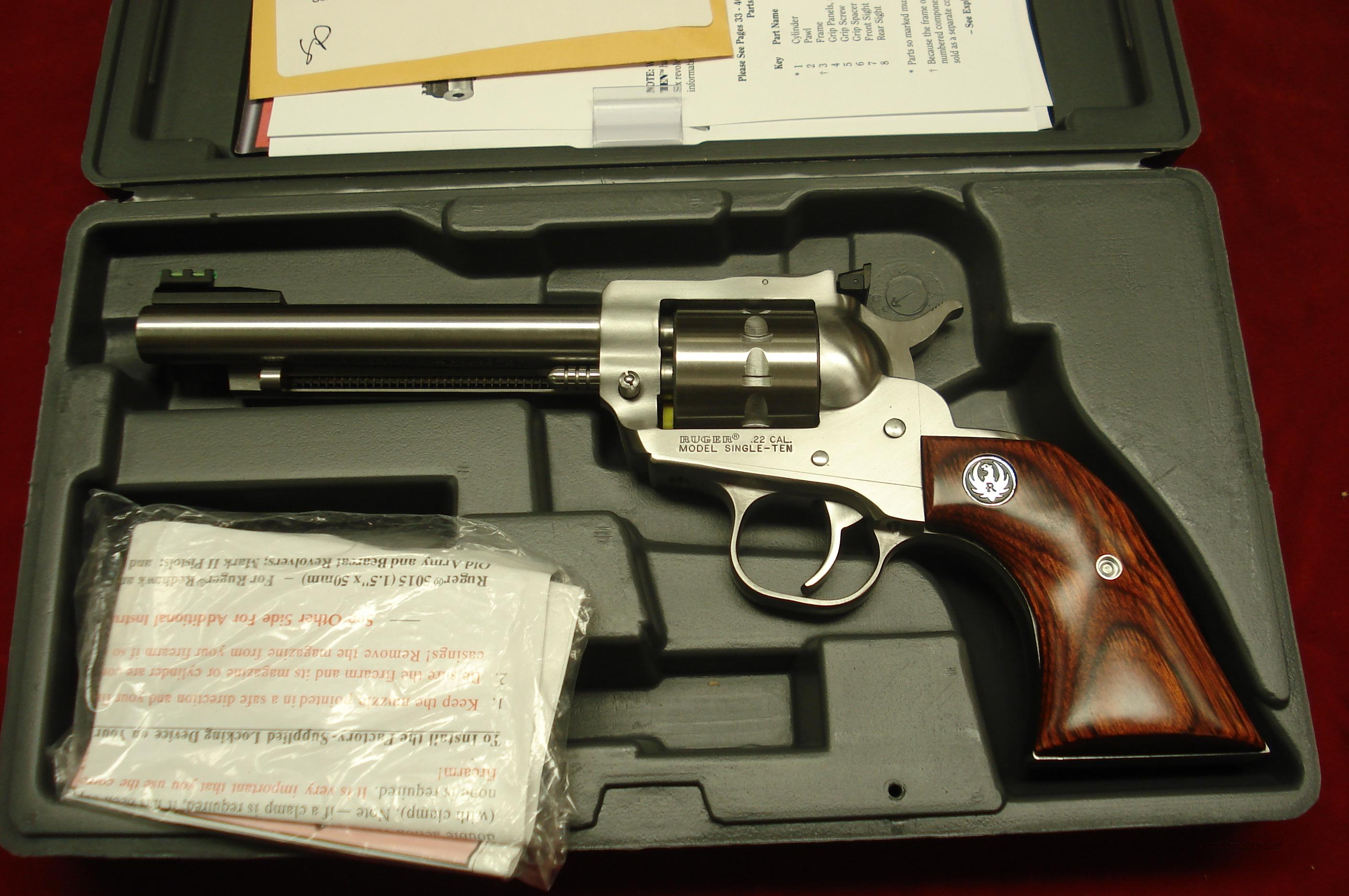 "RUGER SUPER SINGLE TEN 5.5"" STAINLESS 22 CAL. NEW (KNR-5-10)  Guns > Pistols > Ruger Single Action Revolvers > Single Six Type"