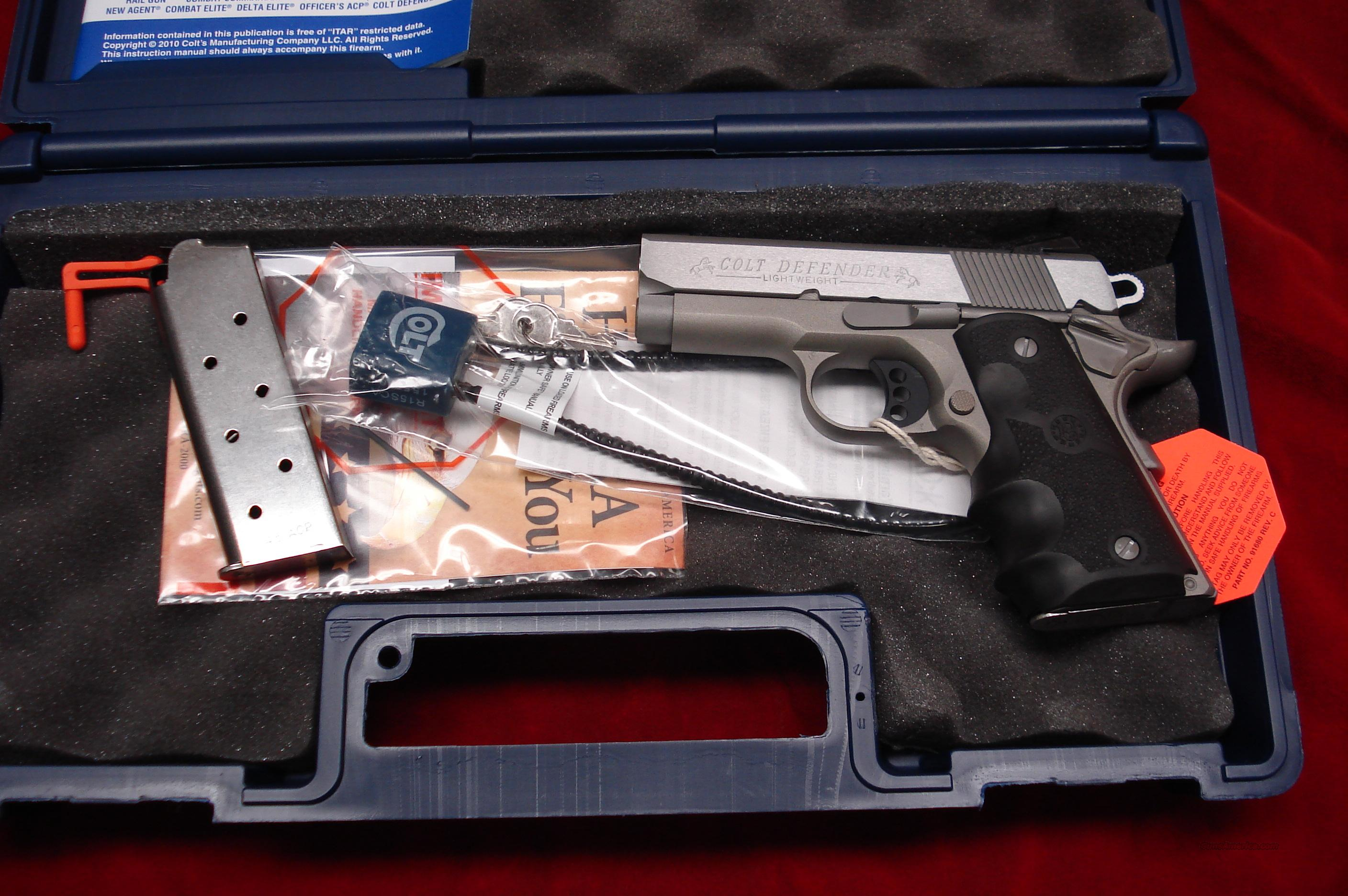 COLT DEFENDER STAINLESS LIGHTWEIGHT 45ACP NEW   Guns > Pistols > Colt Automatic Pistols (1911 & Var)
