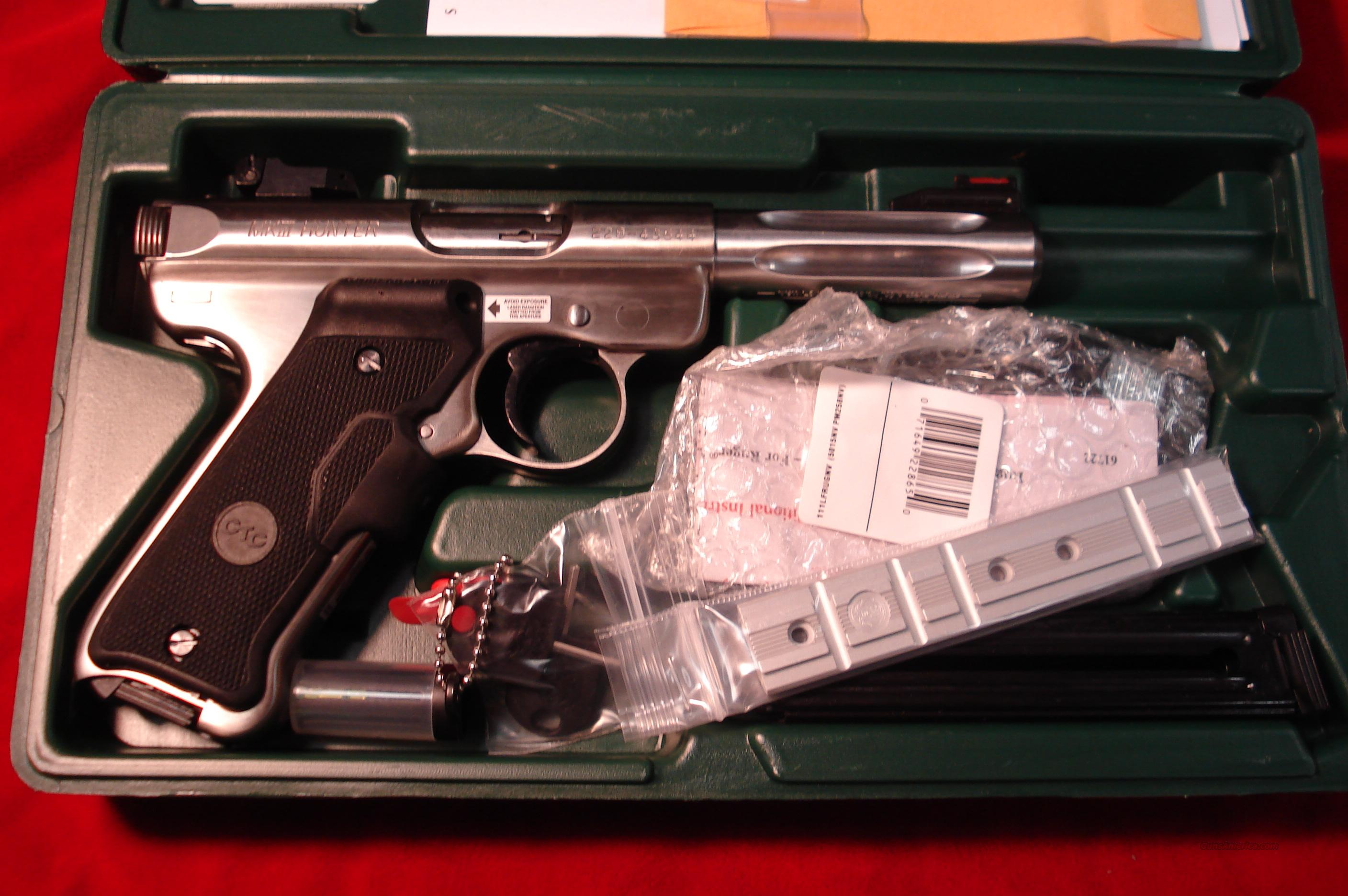 "RUGER MKIII  HUNTER 4.5"" STAINLESS W/CRIMSON TRACE GRIPS NEW   (KMKIII45HCL)   Guns > Pistols > Ruger Semi-Auto Pistols > Mark I & II Family"