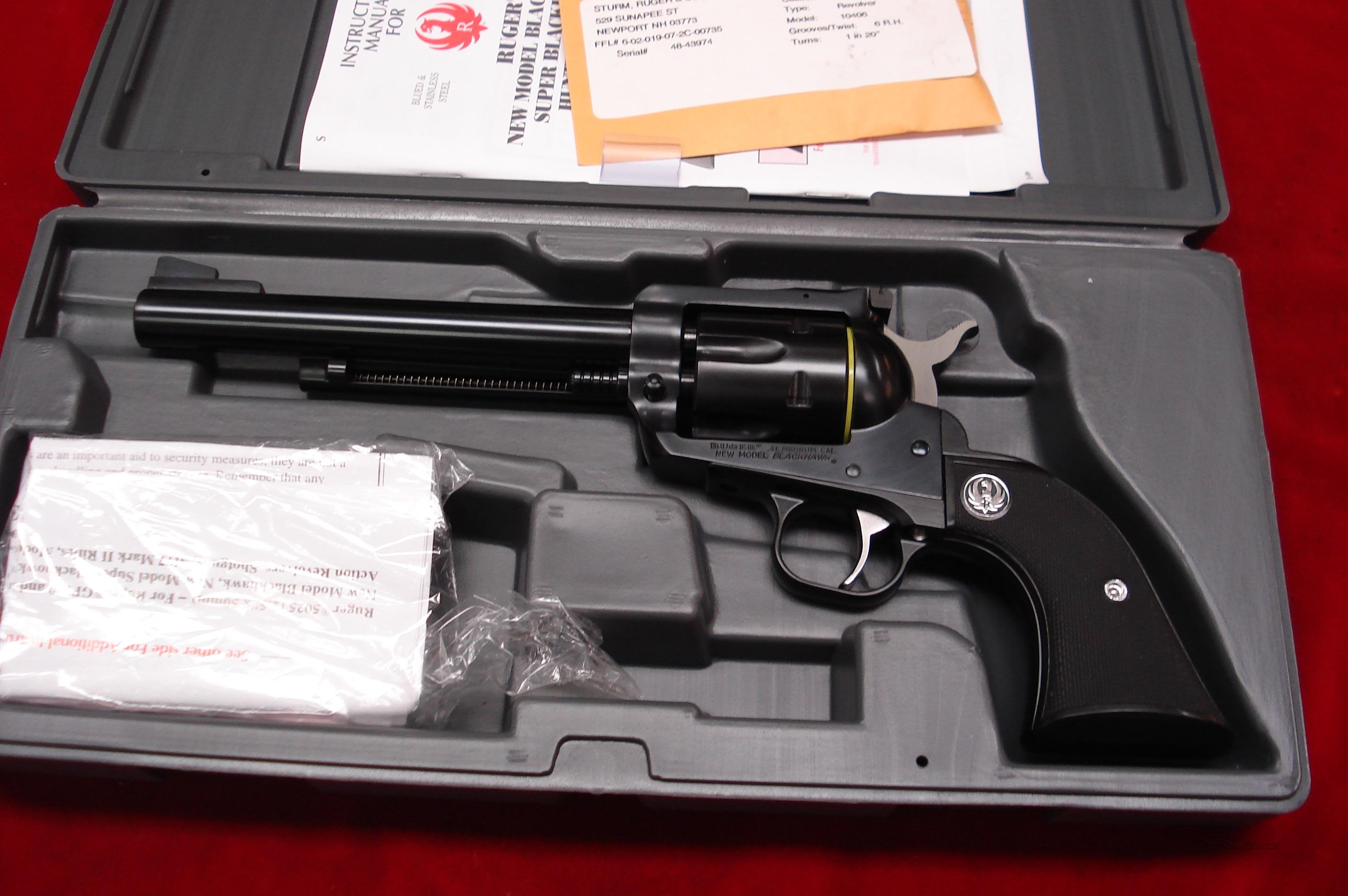 "RUGER NEW MODEL BLACKHAWK .41 MAG 6.5"" BLUE NEW (BN-42L)  Guns > Pistols > Ruger Single Action Revolvers > Blackhawk Type"